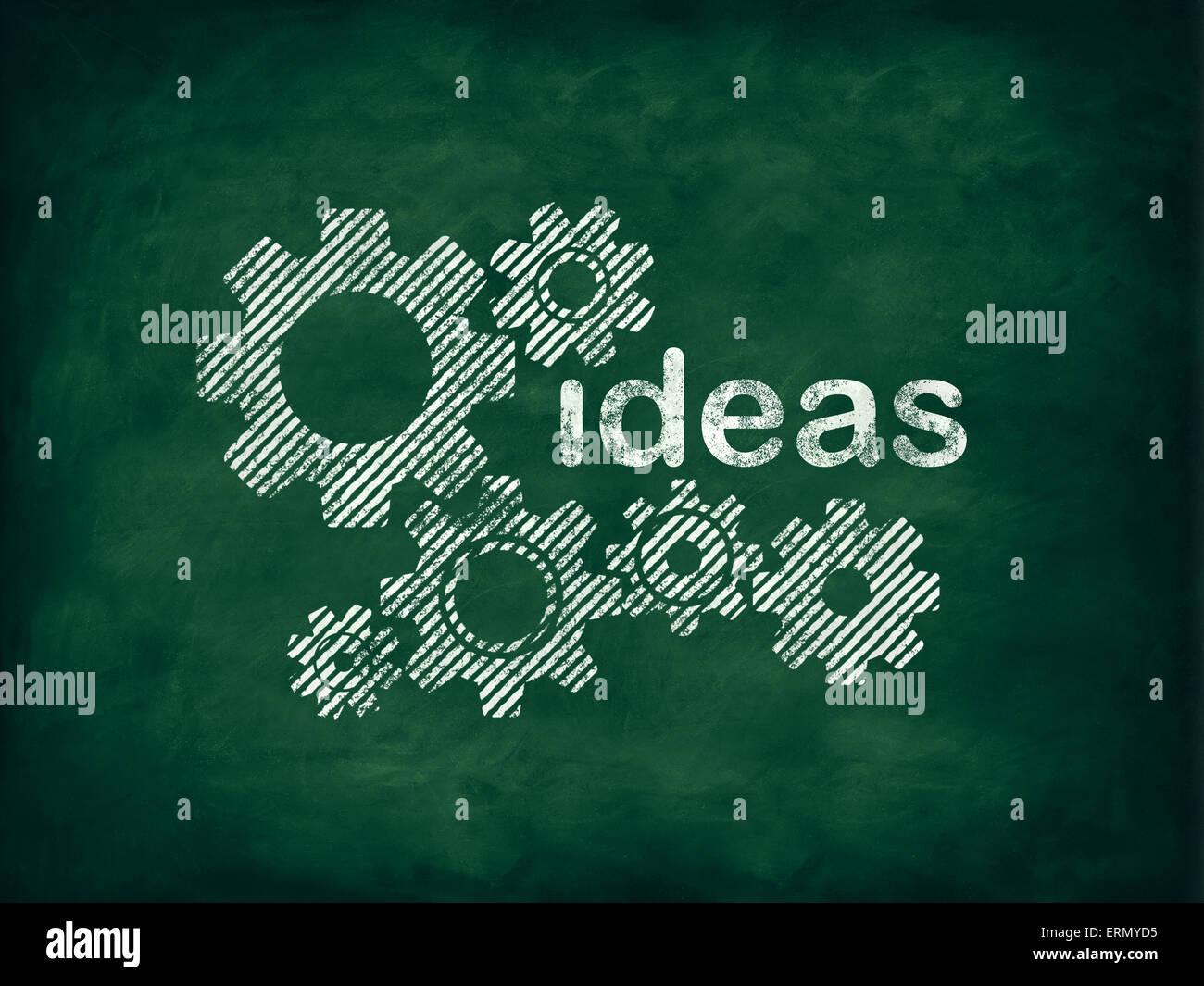 Zahnräder und Ideen Konzept auf Tafel Stockfoto