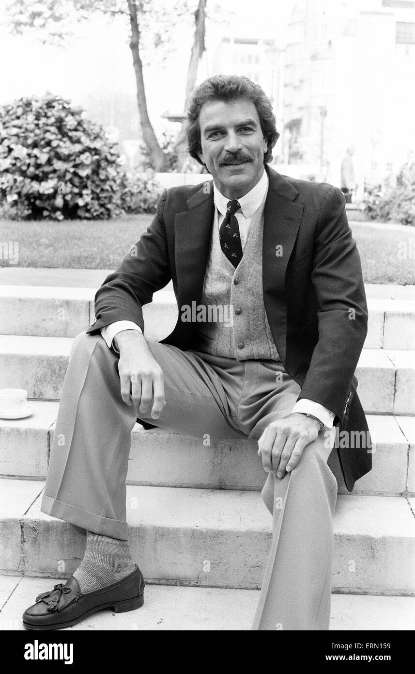 Tom Selleck, Schauspieler, Fototermin, London, 2. Mai 1985. Stockbild