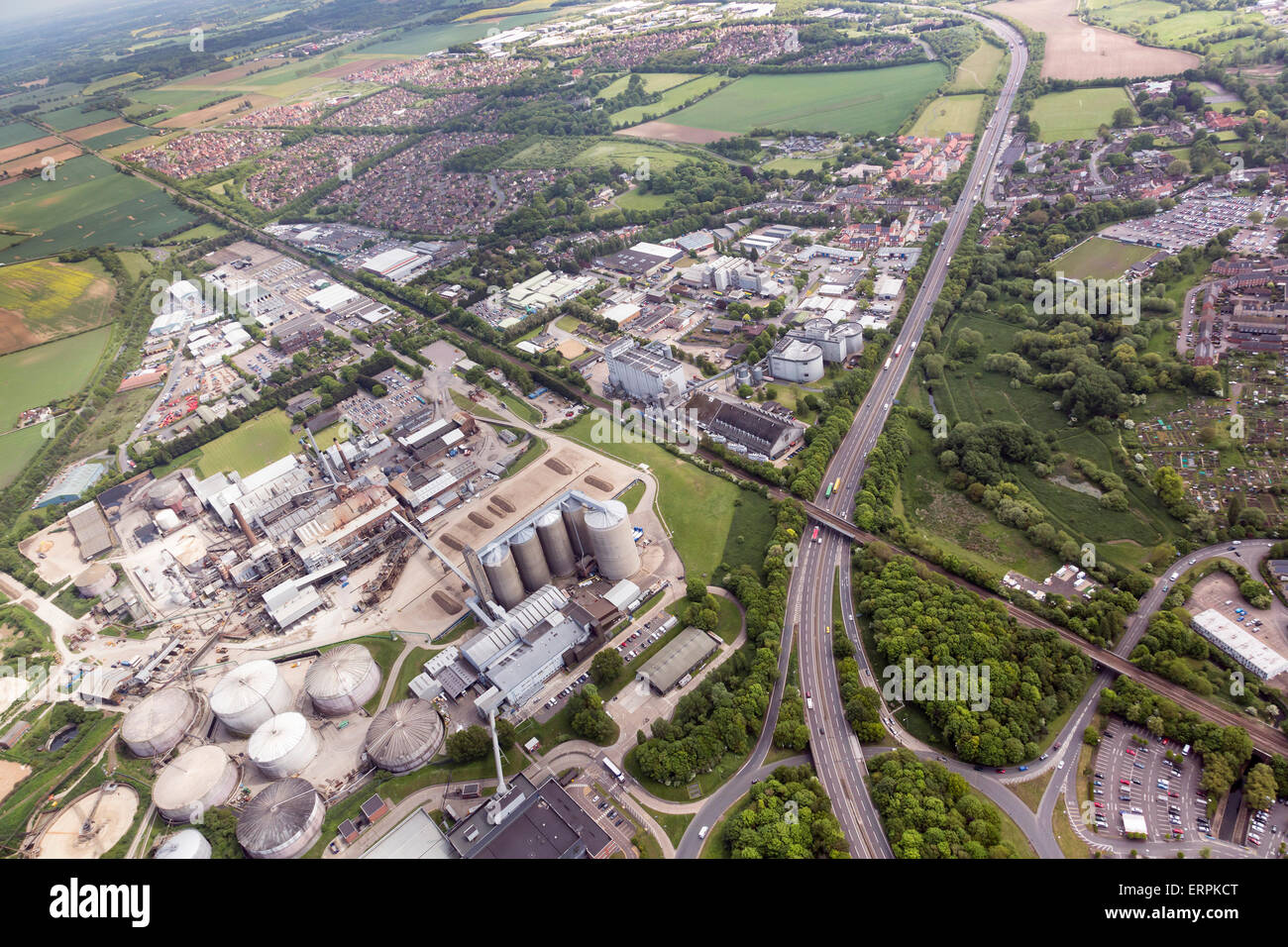 Luftaufnahme von Bury St Edmunds Stockbild