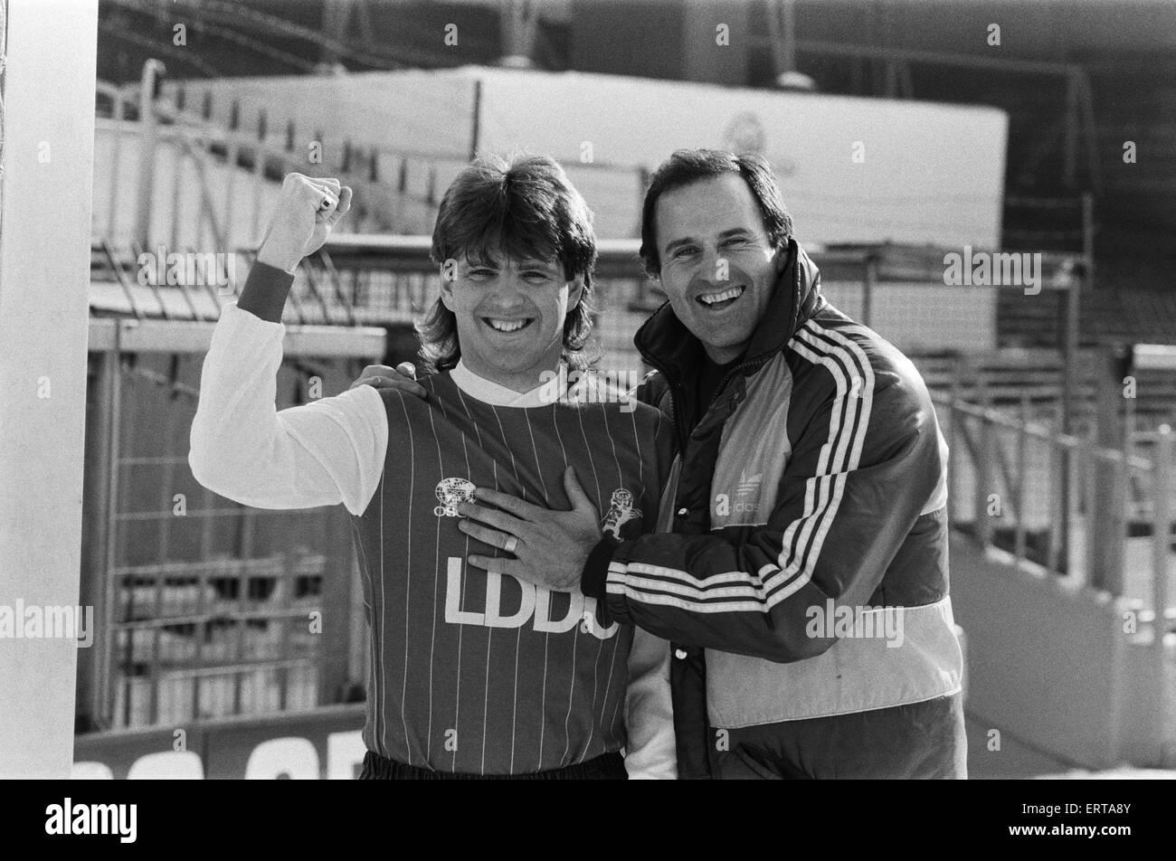 Fußballer Steve Lovell. 12. Februar 1985. Stockbild