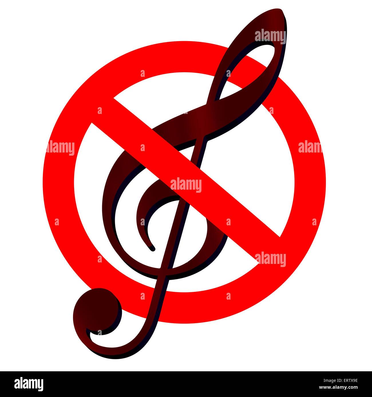 Verkehrszeichen verboten Musik mit Notenschlüssel in isolierten 3D-Illustration Stockbild