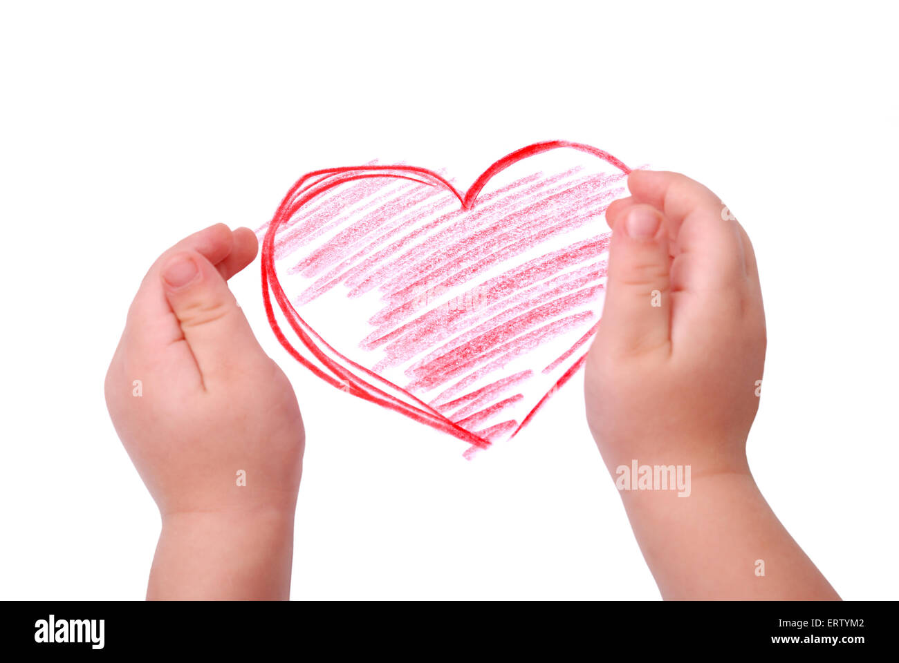 The Childrens Hand Is Located In Heart Drawing Stockfotos The