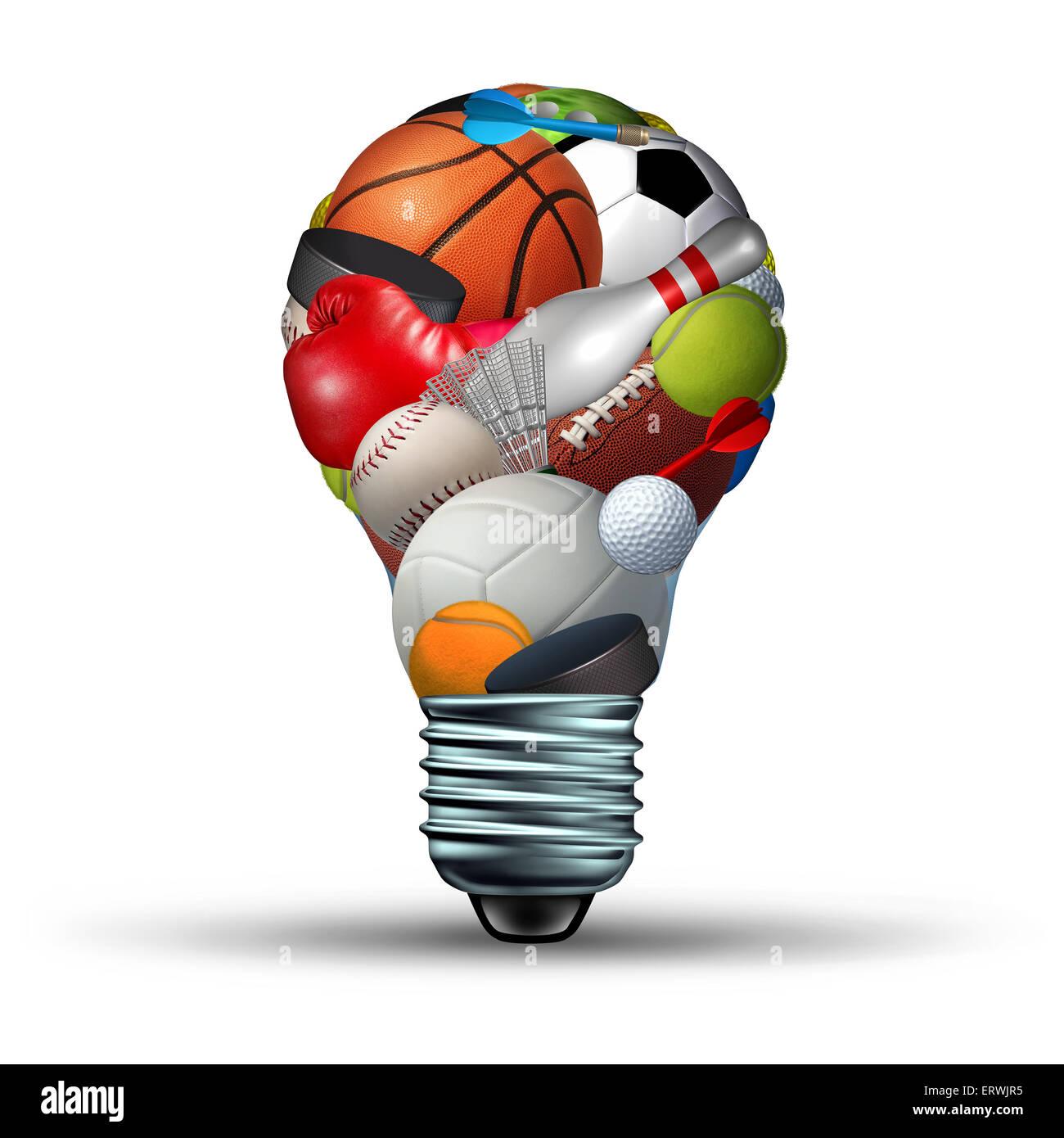 Sport Aktivitäten Ideen-Konzept als eine Glühbirne Form auf weißem Hintergrund mit Sportgeräten Stockbild