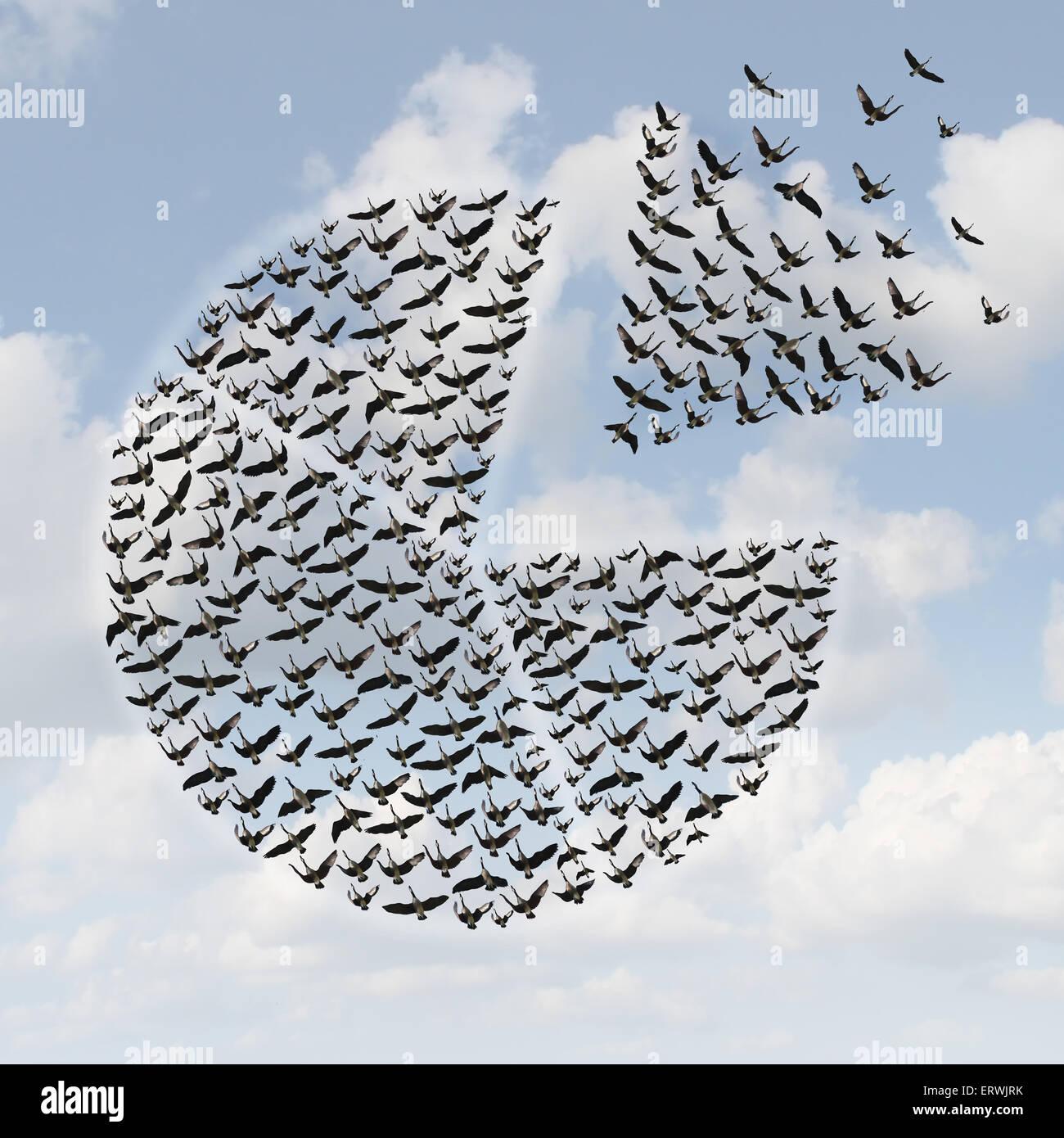 Finanzielle Kreisdiagramm Geschäftskonzept als eine Gruppe von fliegenden Vögel oder Gänse in einer Stockbild