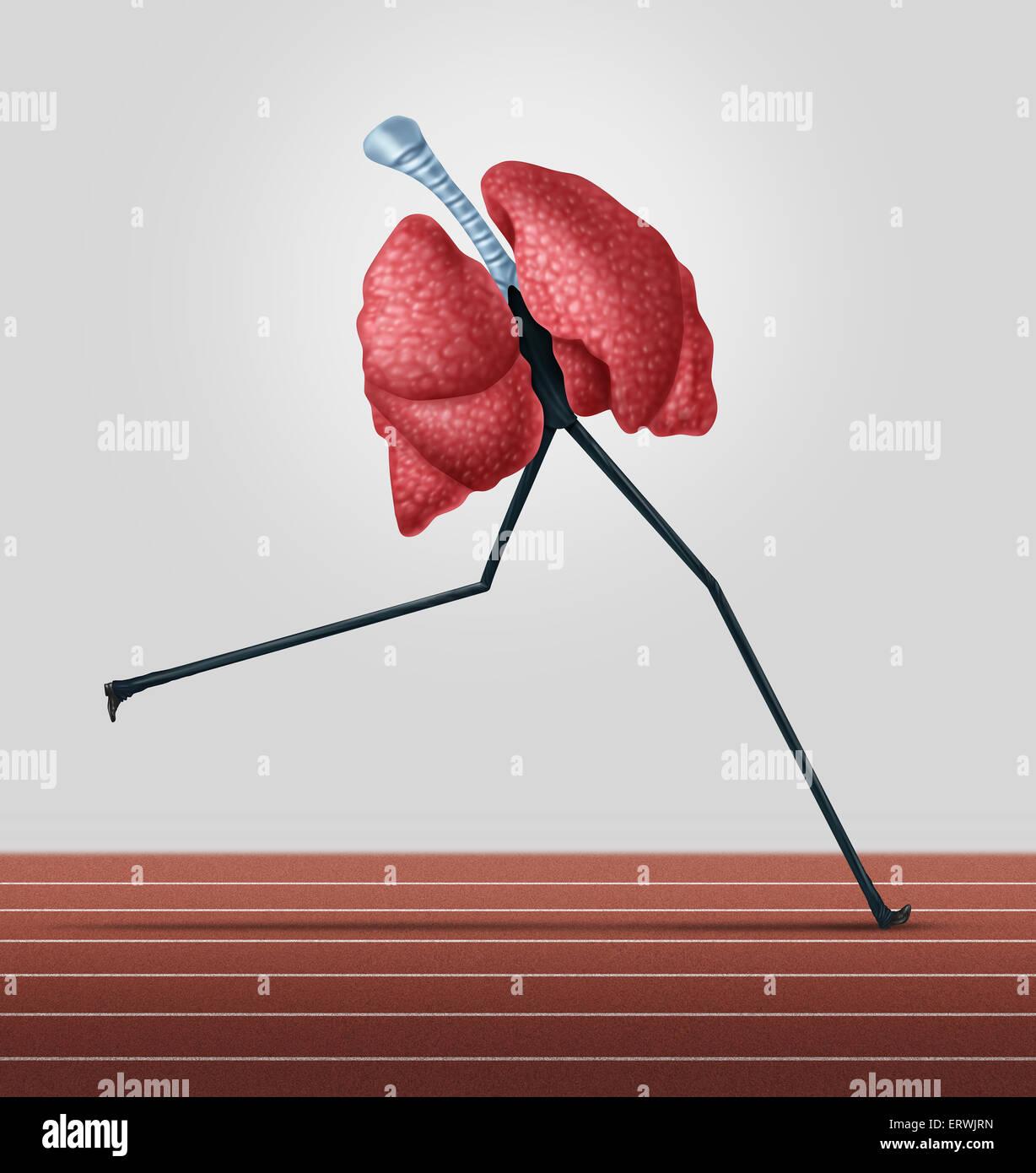 Herz-Kreislauf-Übung und körperliche Fitness-Konzept als menschliche Lunge mit Beinen laufen auf einer Stockbild