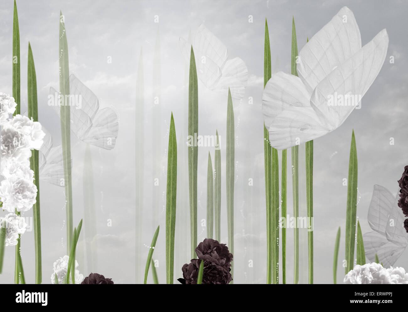Abstrakte Blumen Hintergrund mit Schmetterlingen Stockbild