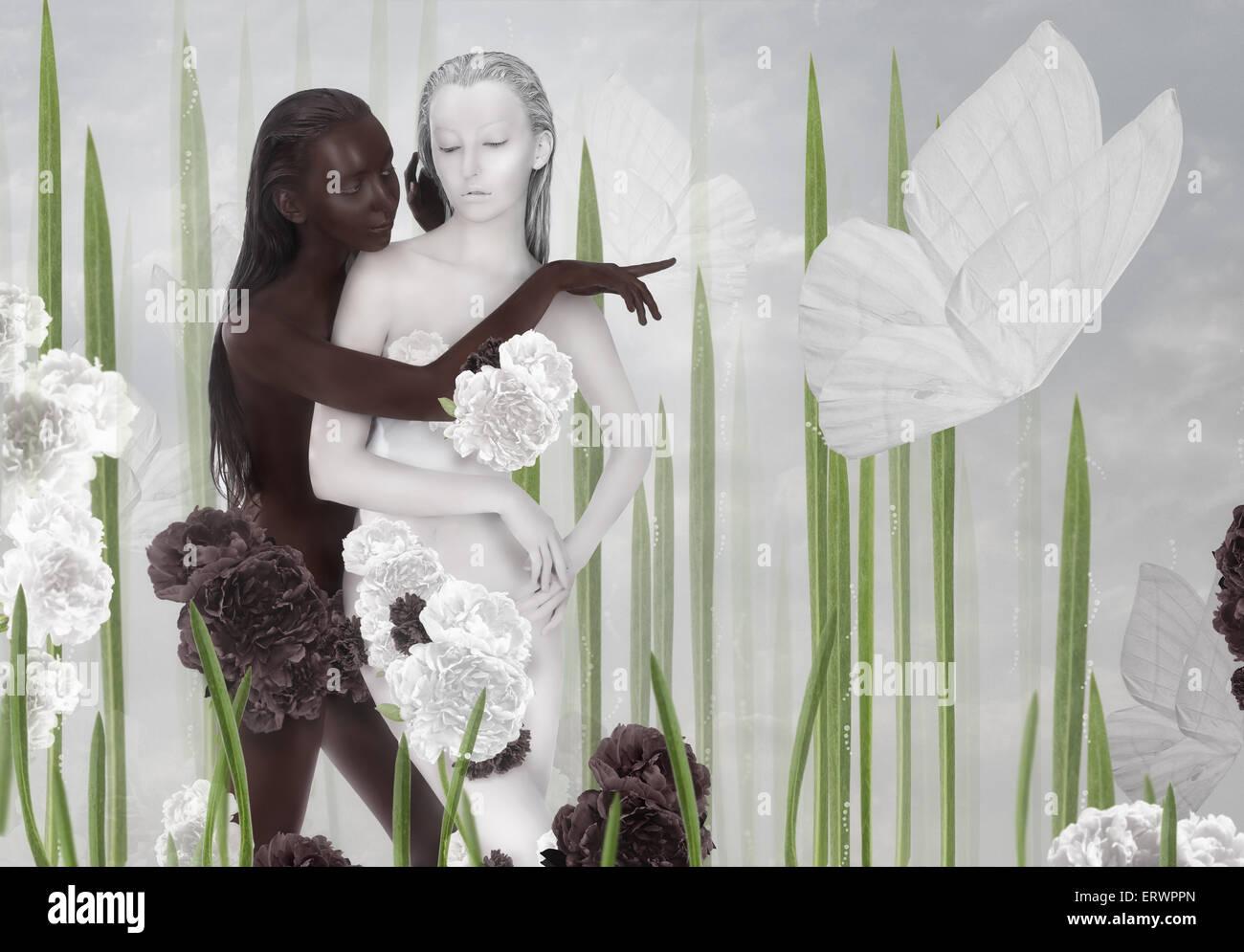 Phantasie. Zwei Frauen farbig, schwarz und weiß Stockbild