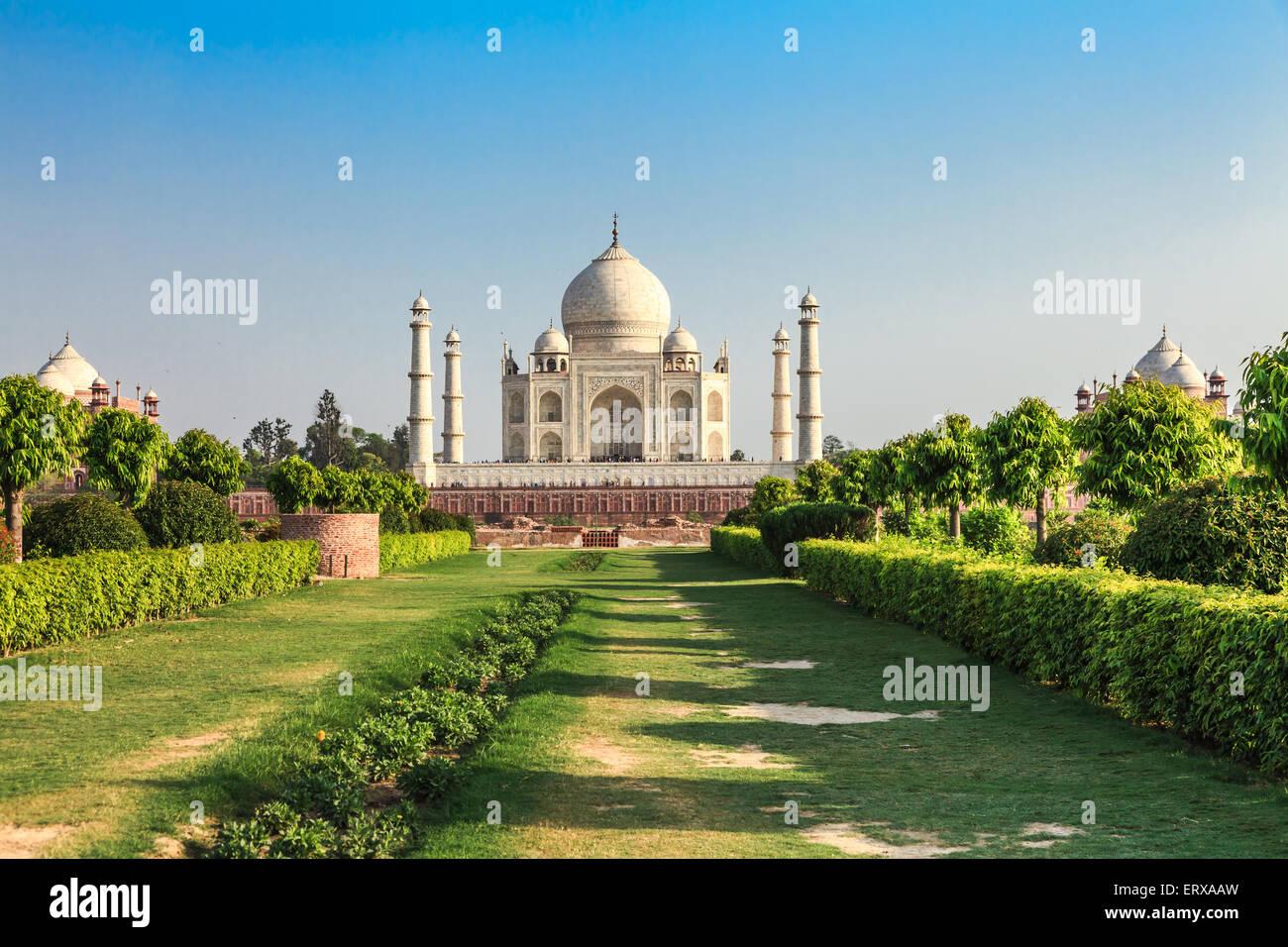 Taj Mahal in Agra, Indien Abend Stockbild