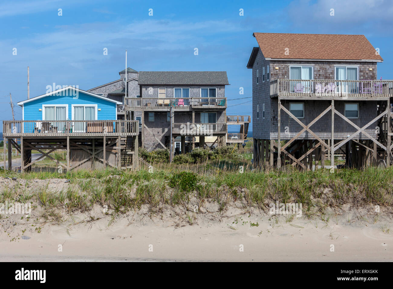 Frisco, Outer Banks, North Carolina. Strand-Häuser auf Stelzen ...