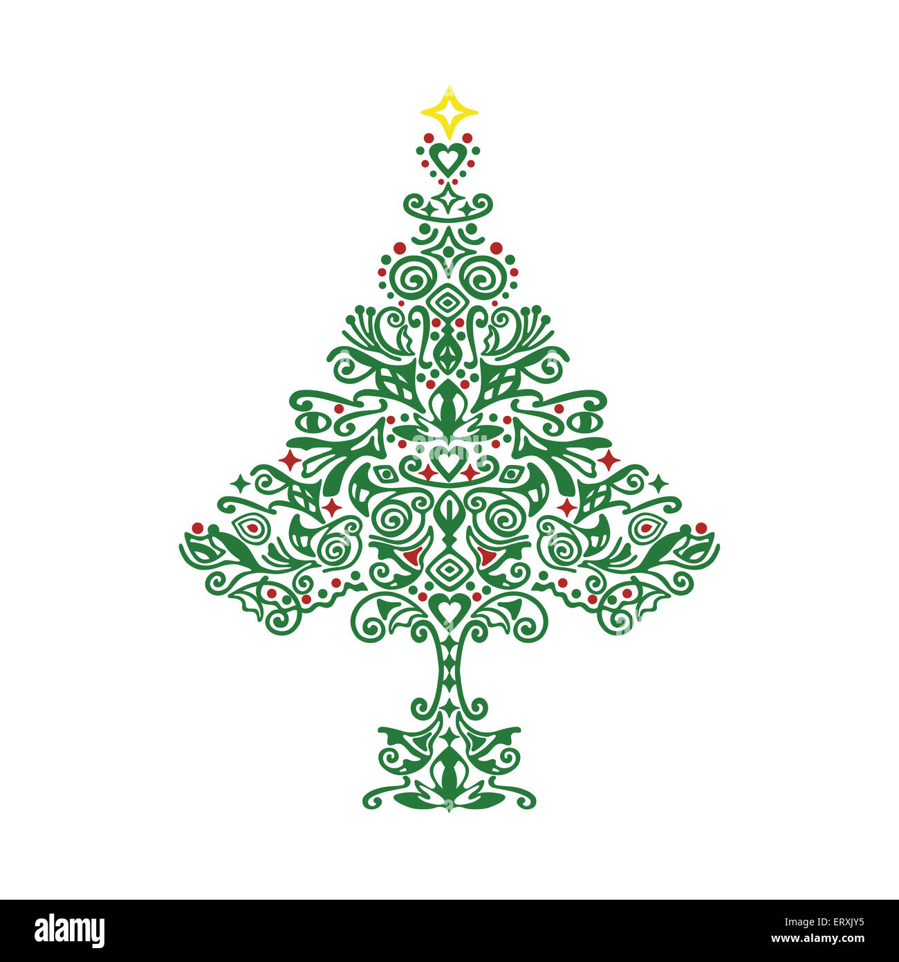 Green Christmas tree ornament mit eine detaillierte handgezeichnete Muster Stockbild