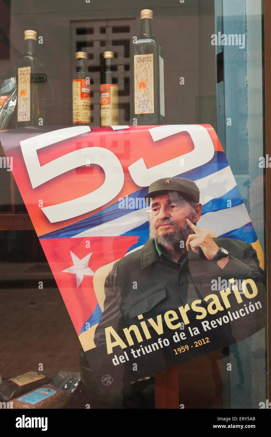 Elk224-1424v Kuba, Havanna Vieja, Fidel Castro Plakat Stockbild