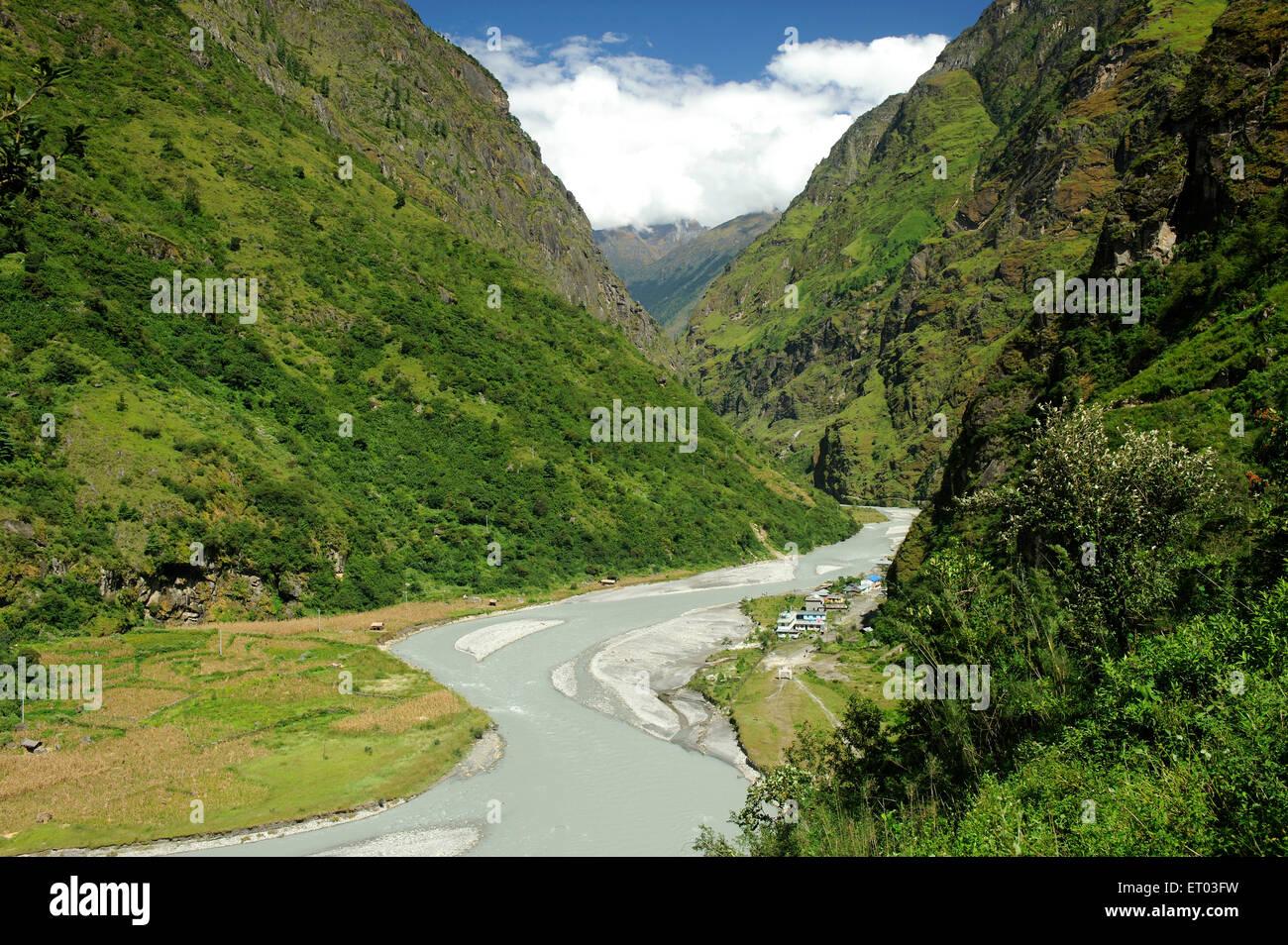 Fluss Mursyungdi; Tal; Nepal Stockbild