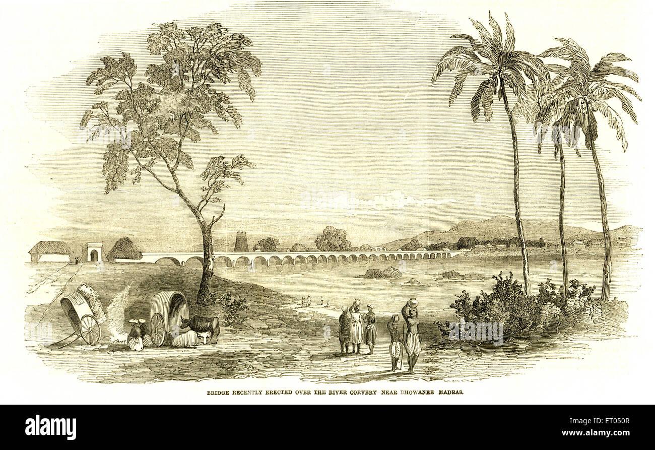 Brücke über Corvery Fluss vor kurzem errichtet; in der Nähe von Bhowanee; Madras jetzt Chennai; Tamil Stockbild