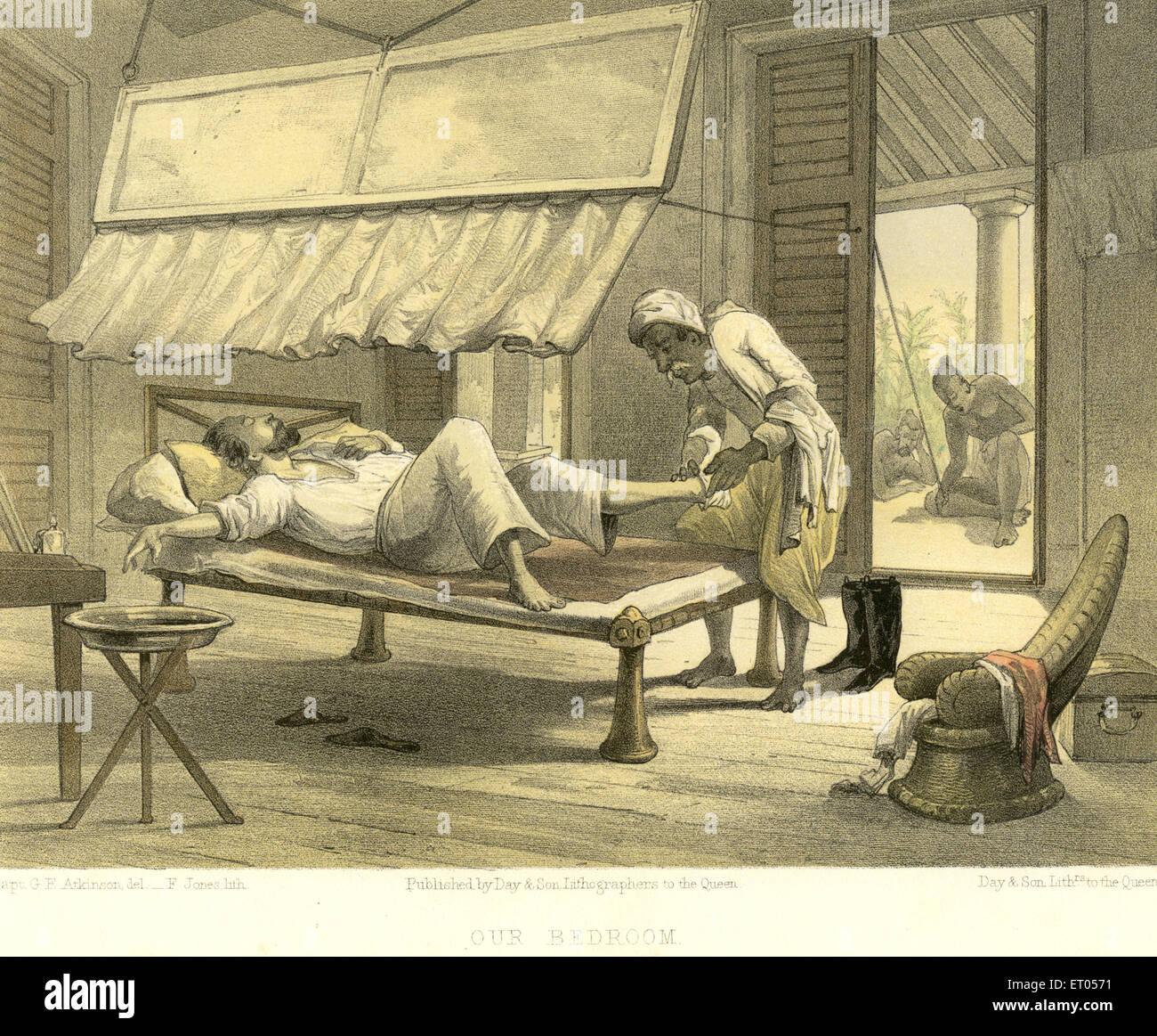 Koloniale indische Bilder; Unser Schlafzimmer; Indien Stockbild