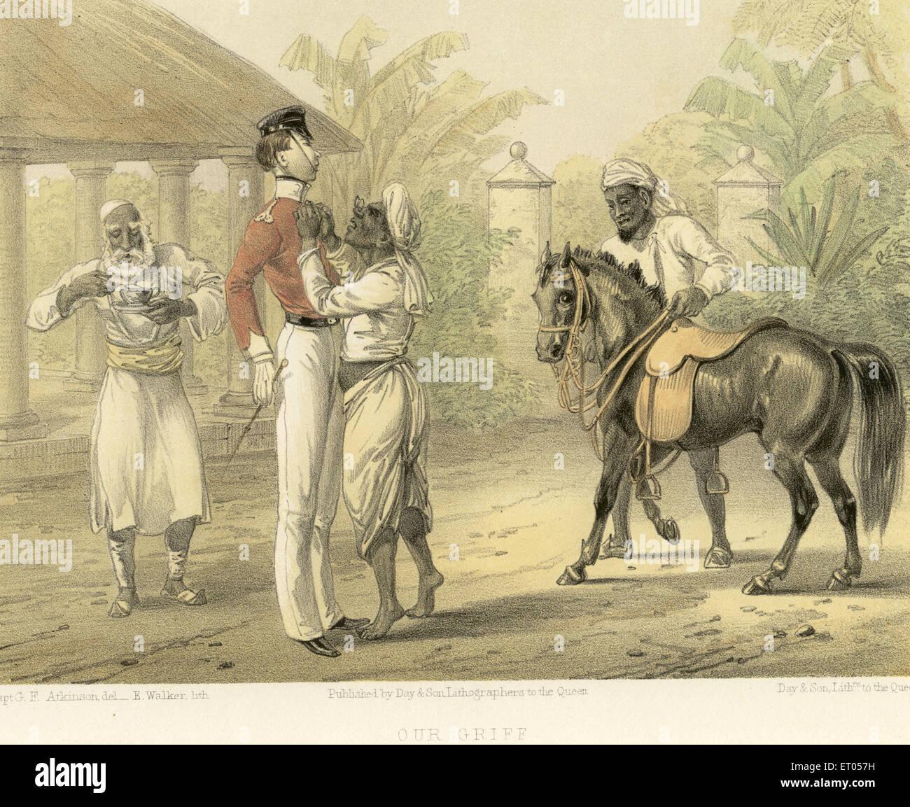 Koloniale indische Bilder; unsere Trauer; Indien Stockbild