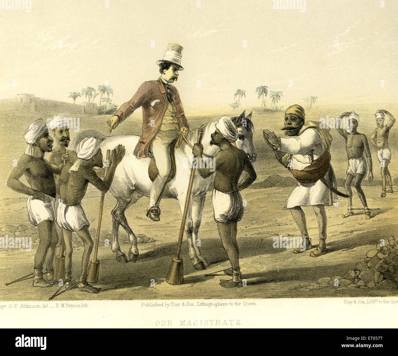 Koloniale indische Bilder; Unsere Magistrat; Indien Stockbild