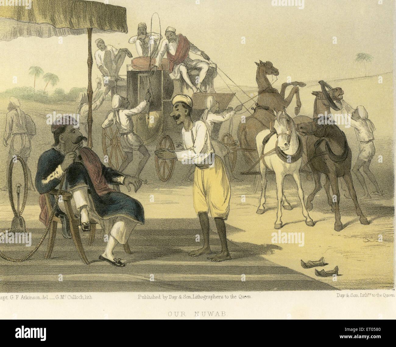 Koloniale indische Bilder; Unsere Nawab; Indien Stockbild