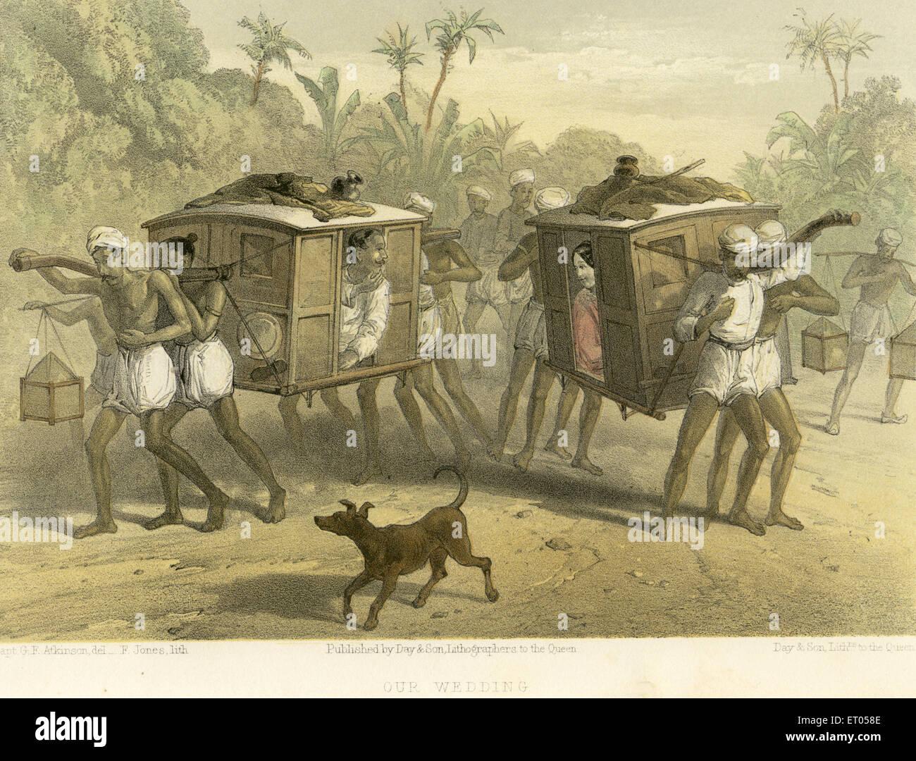 Koloniale indische Bilder; unsere Hochzeit; Indien Stockbild