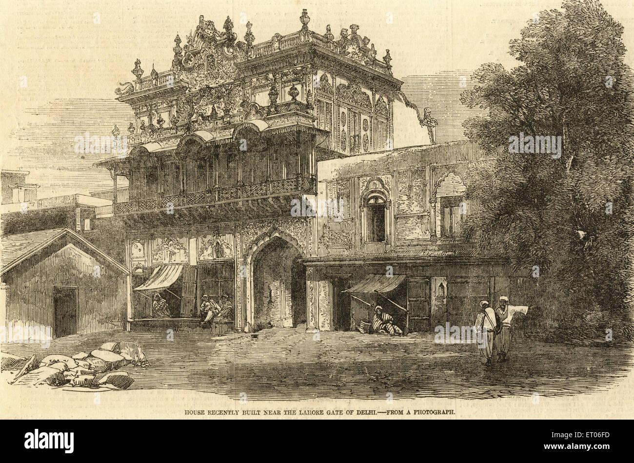 Haus vor kurzem gebaut in der Nähe von Lahore-Tor von Delhi; Indien Stockbild