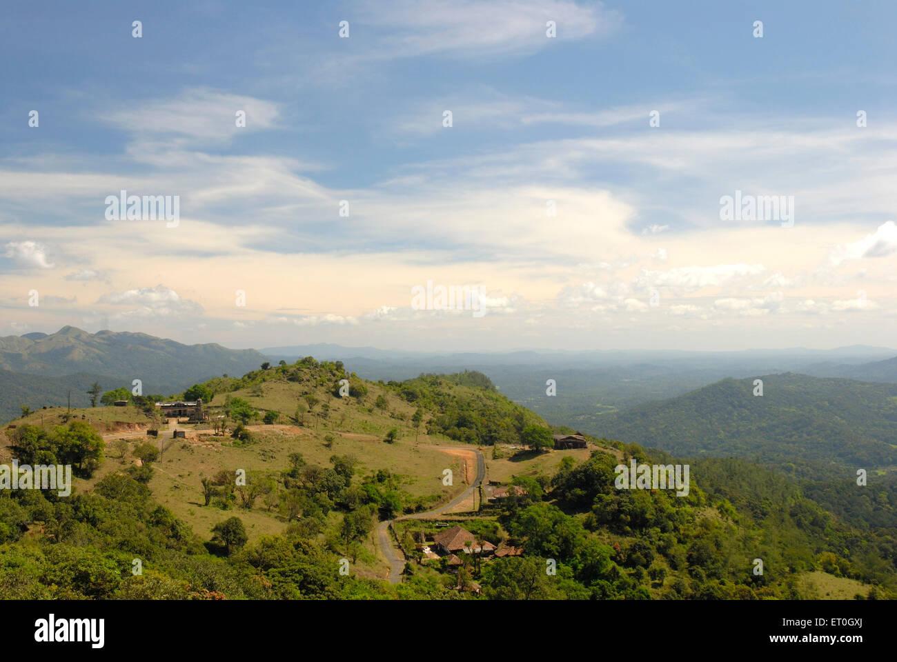 Landschaft in der Nähe von Tal Cauvery; Coorg; Bezirk Mangalore; Karnataka; Indien Stockbild