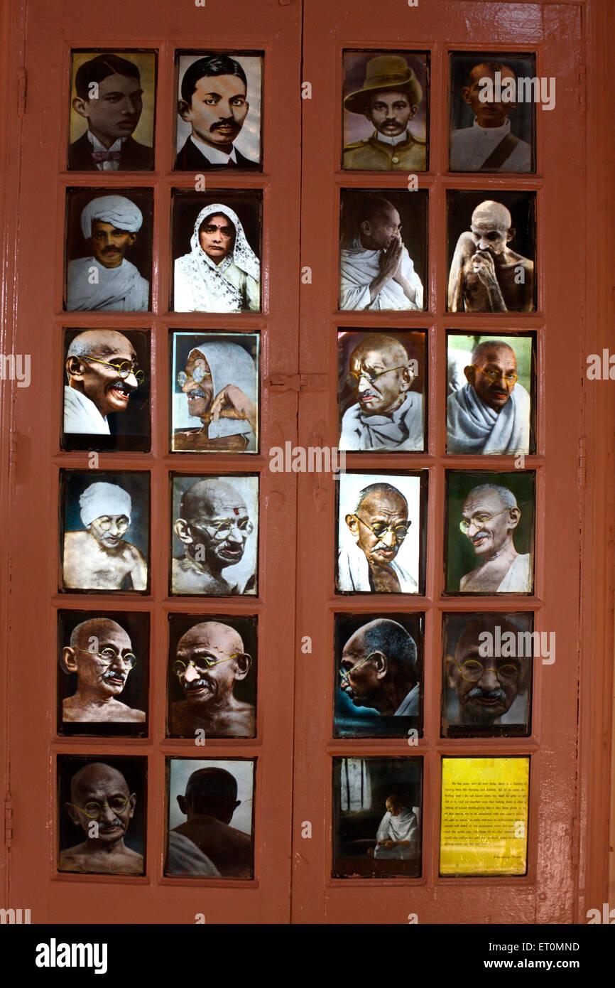 Fotografien von Mahatma Gandhi mit Frau Kasturba Gandhi Ashram Satyagraha gegründet 25. Mai 1915 bei Kochrab Stockbild