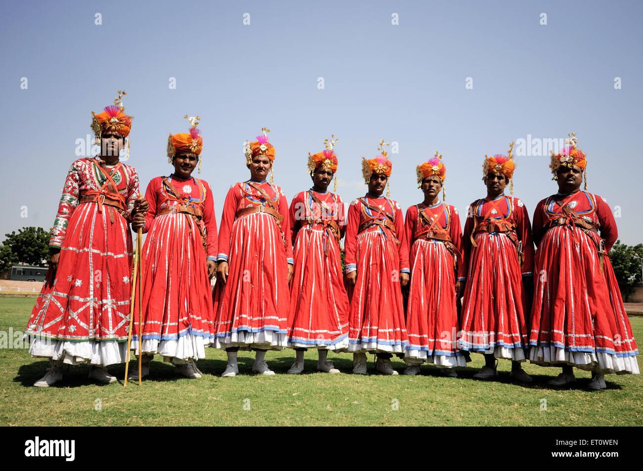 Gher Volkstänzer bei Marwar Festivals; Jodhpur; Rajasthan; Indien Herr #786 Stockfoto