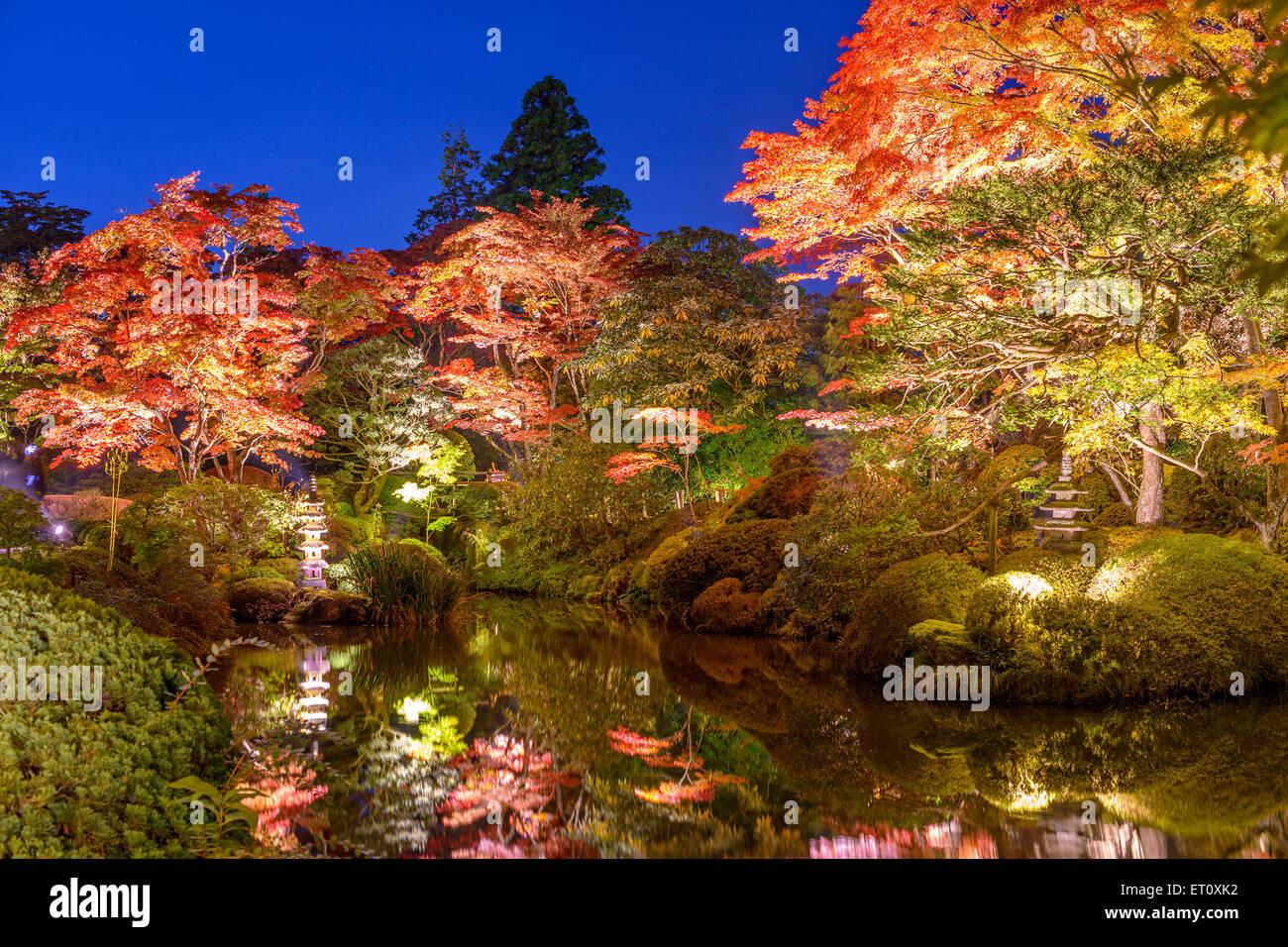 Nikko, Japan im Shoyo-En Garden im Herbst. Stockbild