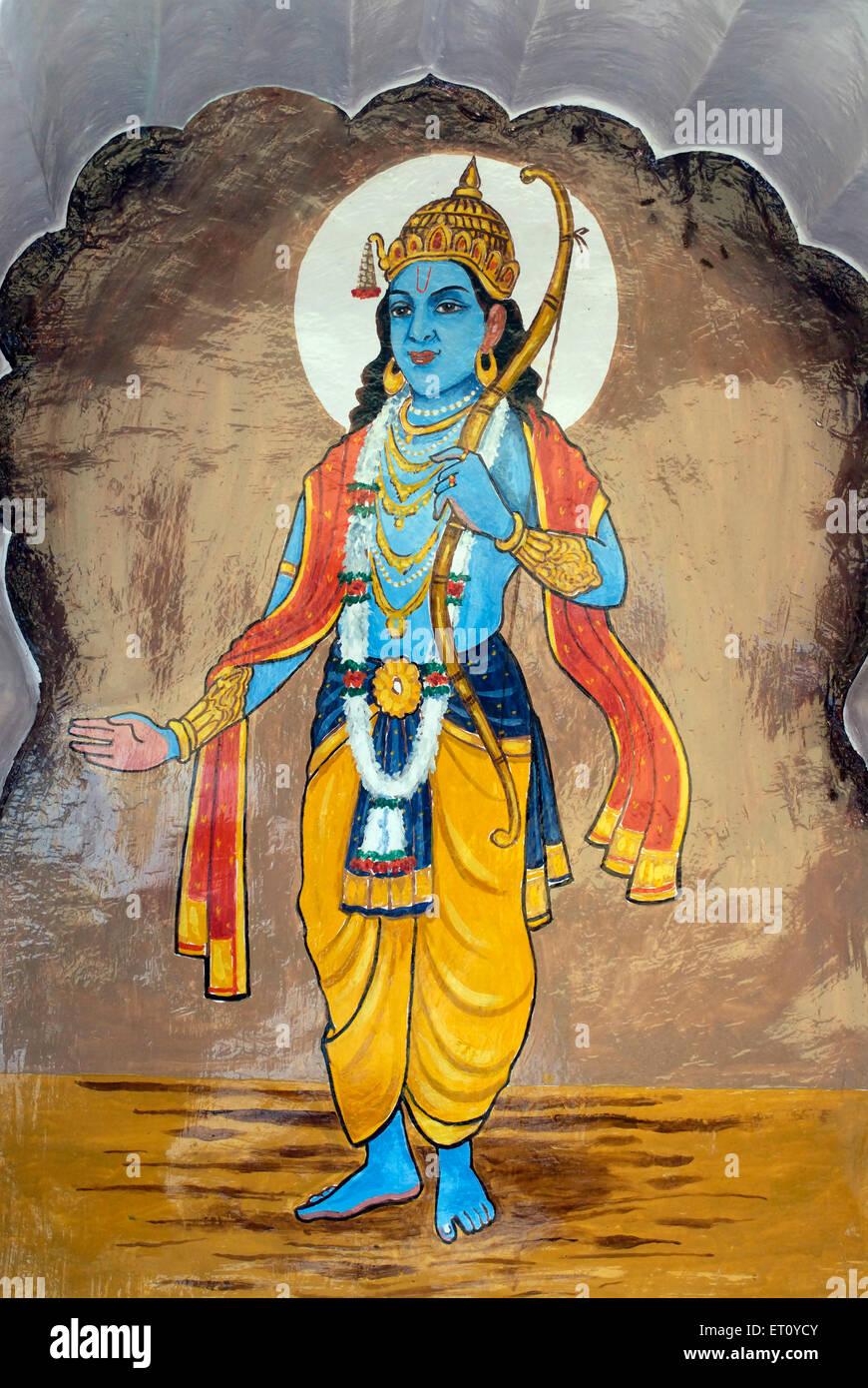 Ramavtar oder perfekte Mensch; siebte Inkarnation von Lord Vishnu auf Wand von Vishnu Narayan Tempel Pune bunt gemalt Stockbild