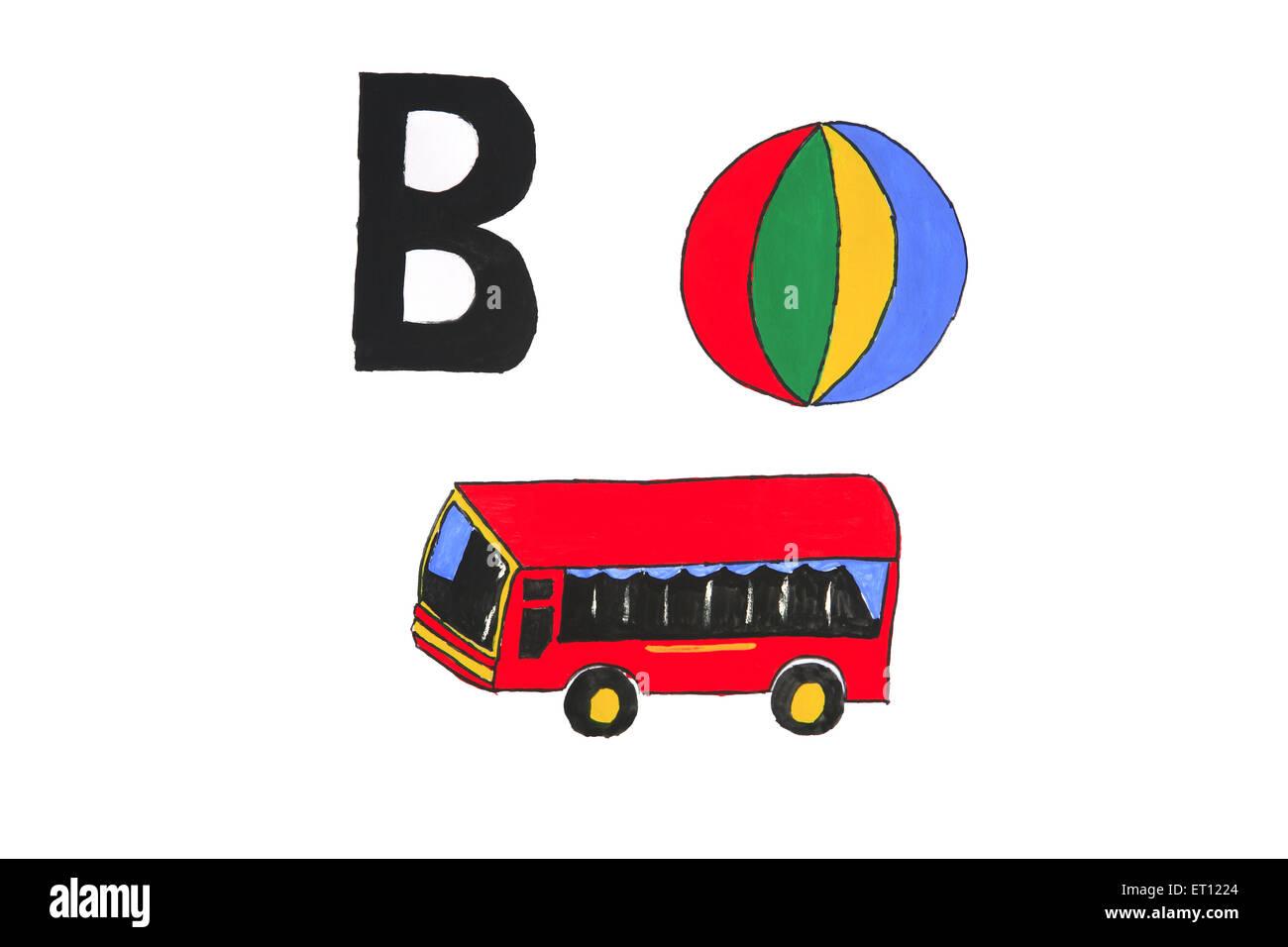 Aquarell-Malerei von Alphabet b mit Ball und bus Stockbild