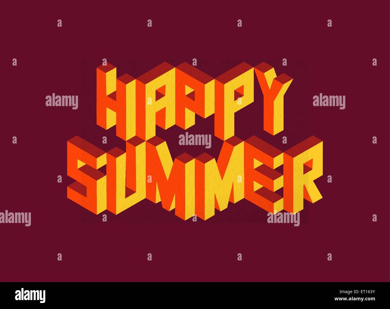 Isometrische Text Happy Summer Angebot Idee Mit Papier Blatt Design