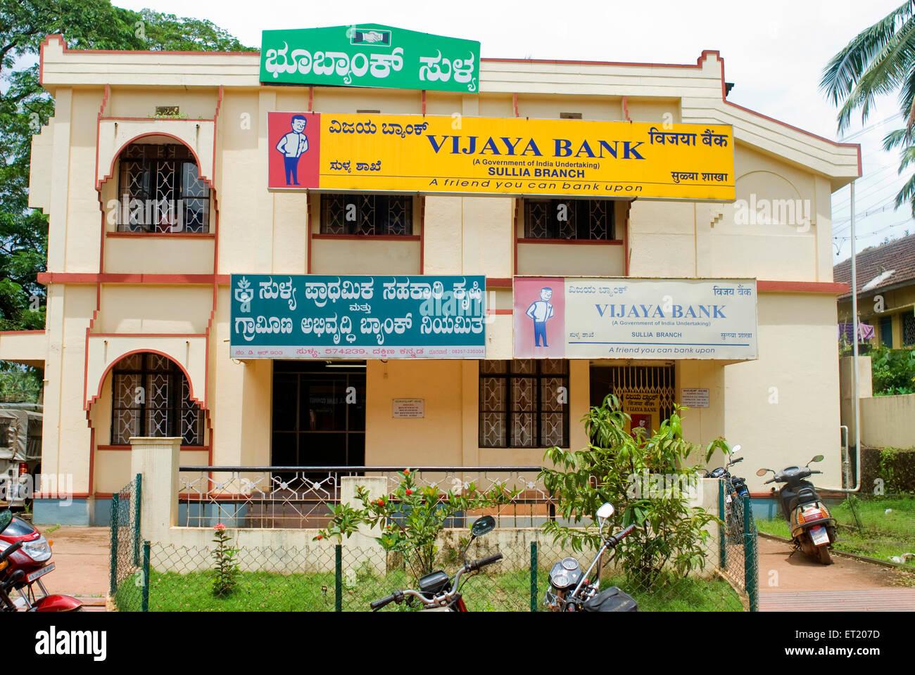 Vijaya Bank Sullia Zweig; Mangalore; Karnataka; Indien Stockbild