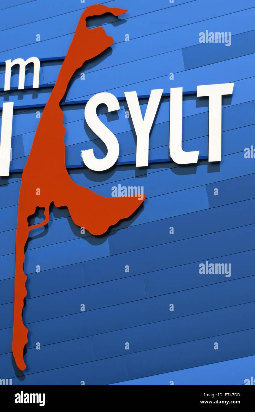 Liste, Deutschland, Schriftzüge und Umriss der Insel Sylt Stockbild