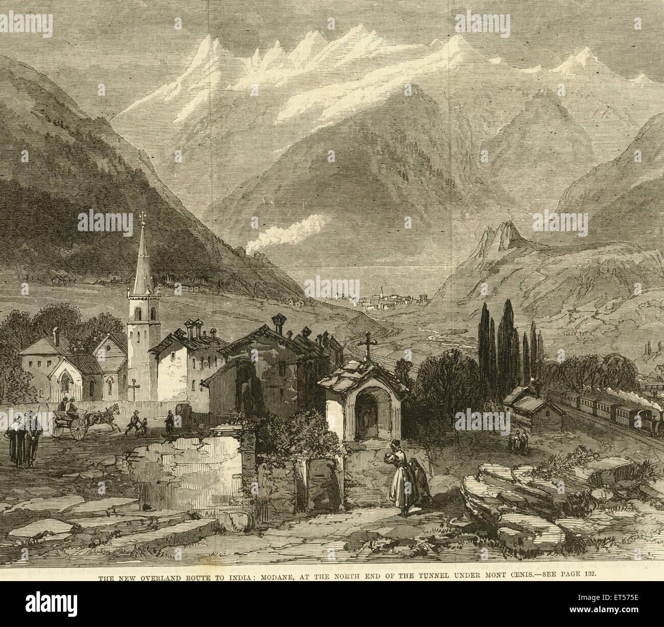 Der neue Landweg nach Indien; Modane; am nördlichen Ende des Tunnelbaus Mont Cenis; Indien Stockfoto