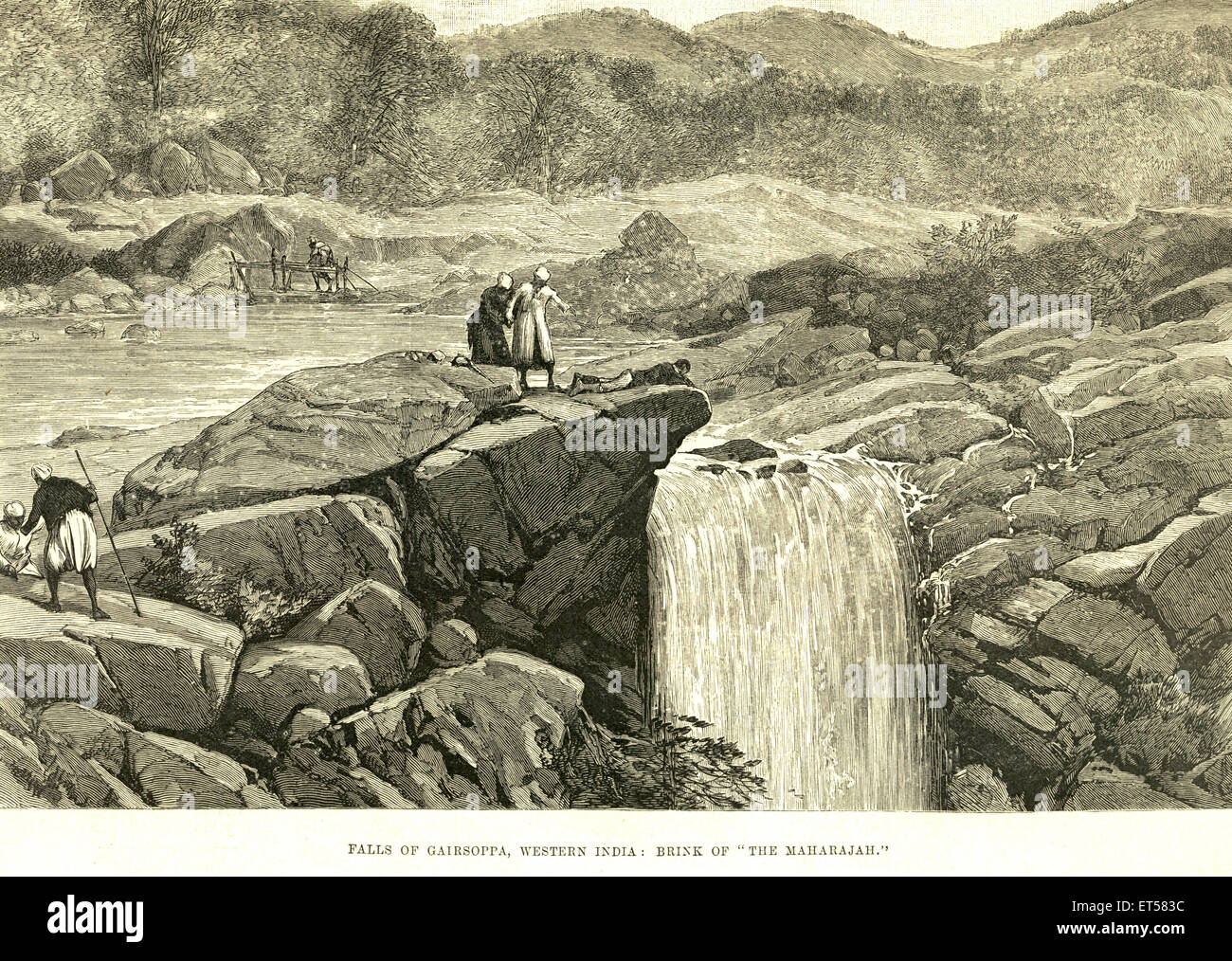 Fällt der Gersoppa; Westindien Brink von der Maharadscha; Karnataka; Indien Stockbild