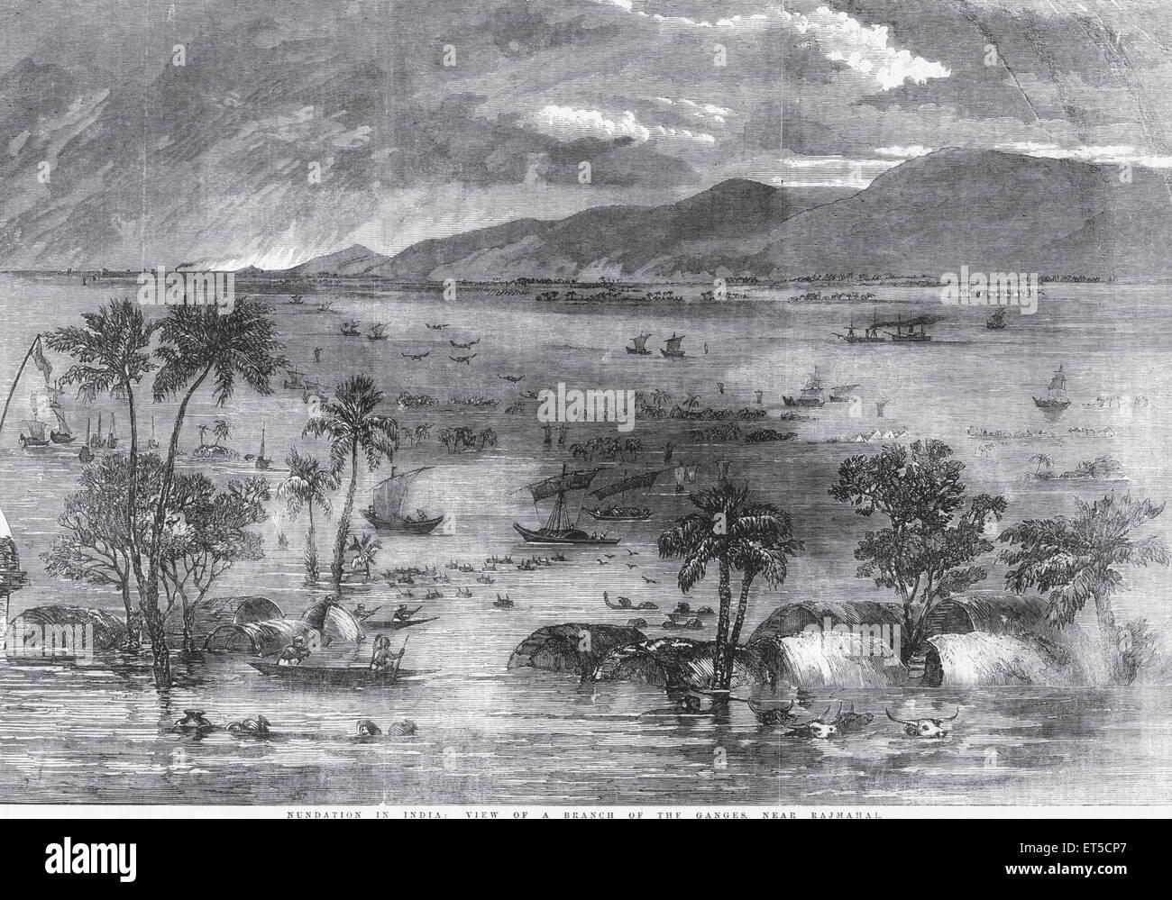 Allgemeine Ansicht Überschwemmung in Indien Blick auf einen Zweig des Ganges in der Nähe von Rajmahal; Stockbild