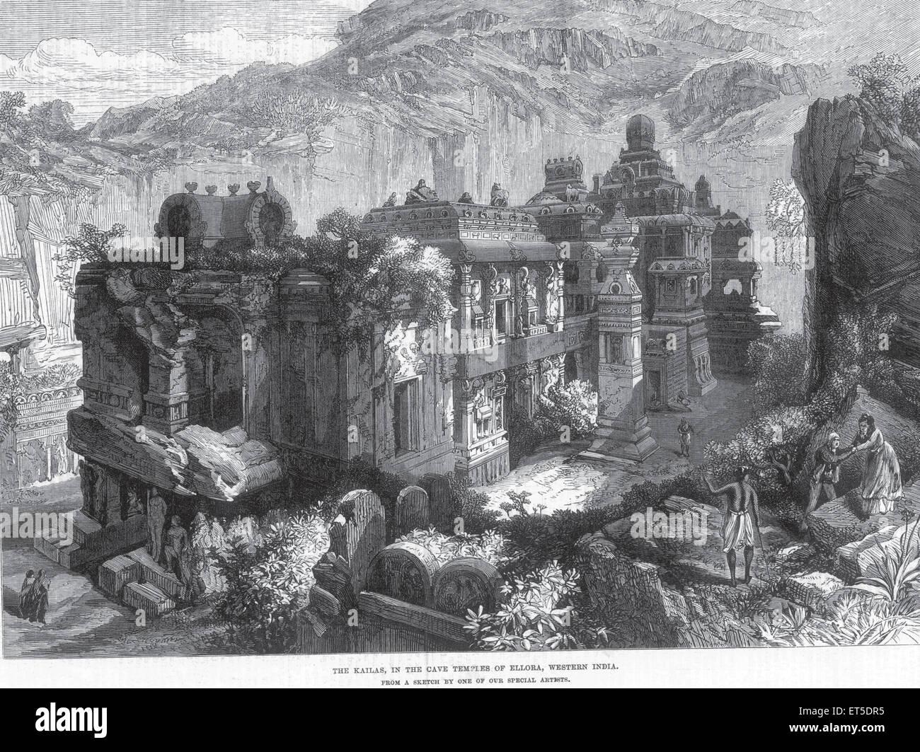 Tempel Kailas in Höhlentempel von Ellora westlichen Indien; Aurangabad; Maharashtra; Indien Stockbild