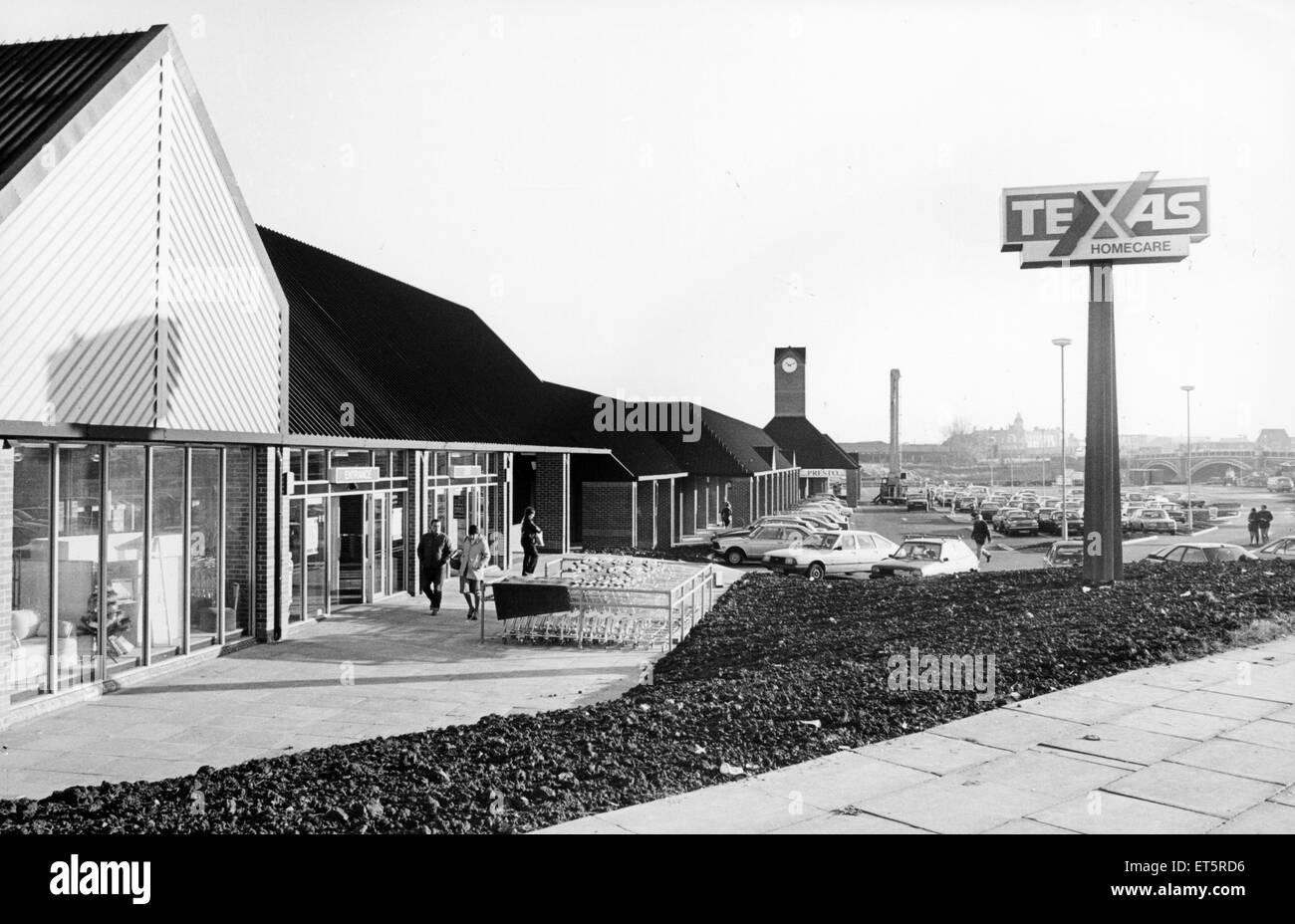 Chandlers Wharf, Stockton, 27. November 1985. Stockbild