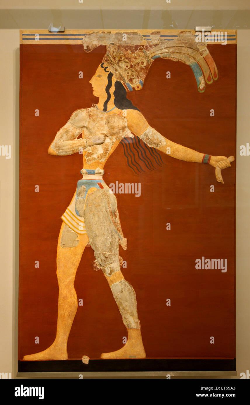 """""""Der Prinz von den Lilien"""" in das archäologische Museum von Heraklion, Kreta, Griechenland. Fresko Stockbild"""