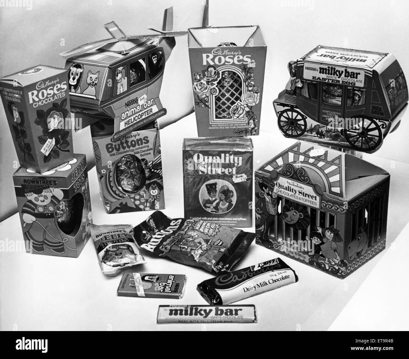 Auswahl von Ostereiern, 4. März 1978. Stockfoto