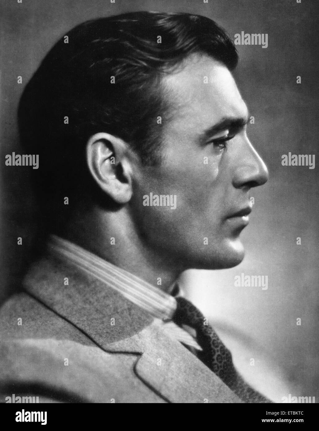Schauspieler Gary Cooper, Profil, 1931 Stockbild
