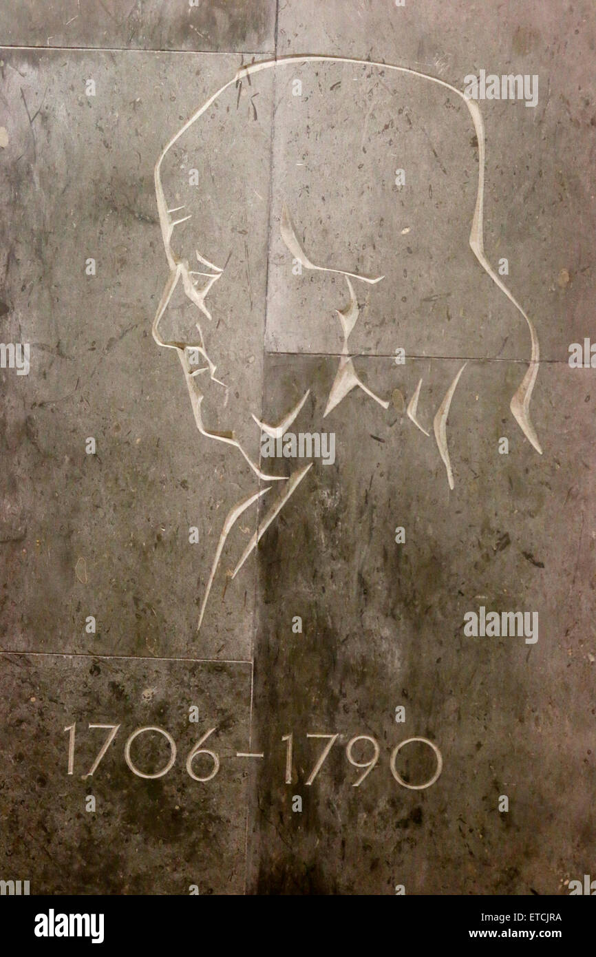 Profil-Portrait von Benjamin Franklin, Berlin. Stockbild