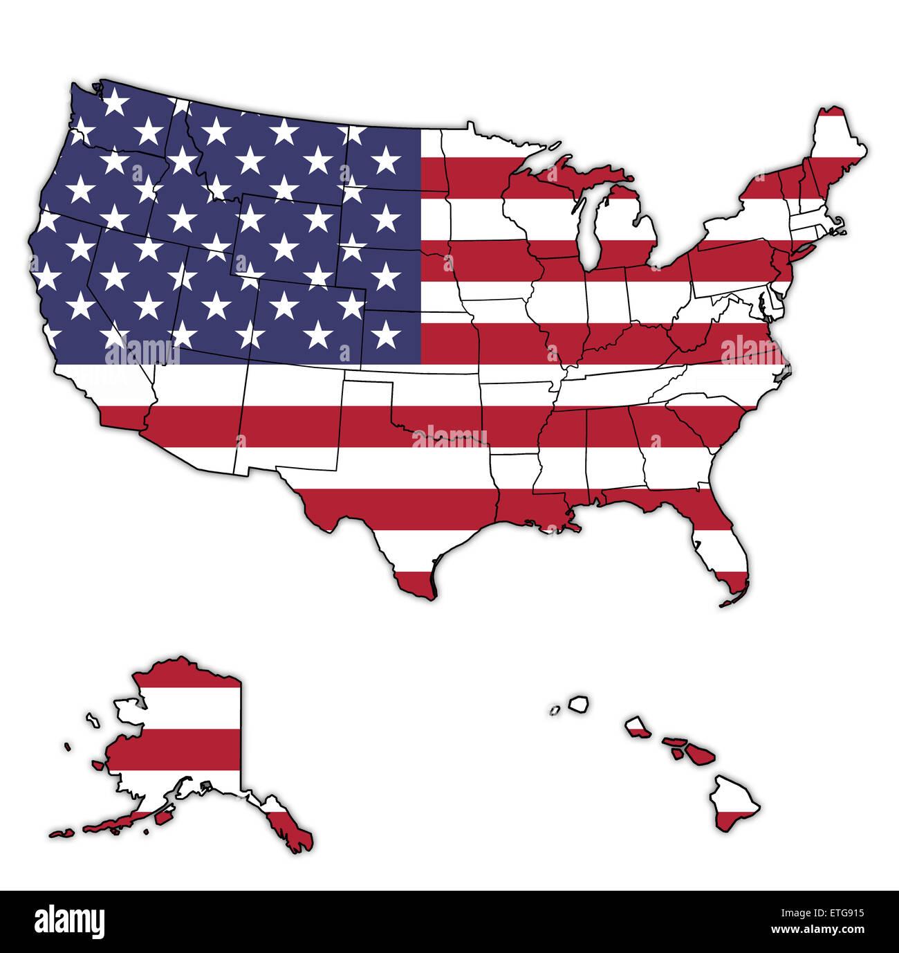 usa flagge auf karte der vereinigten staaten von amerika mit staatsgrenzen stockfoto bild. Black Bedroom Furniture Sets. Home Design Ideas
