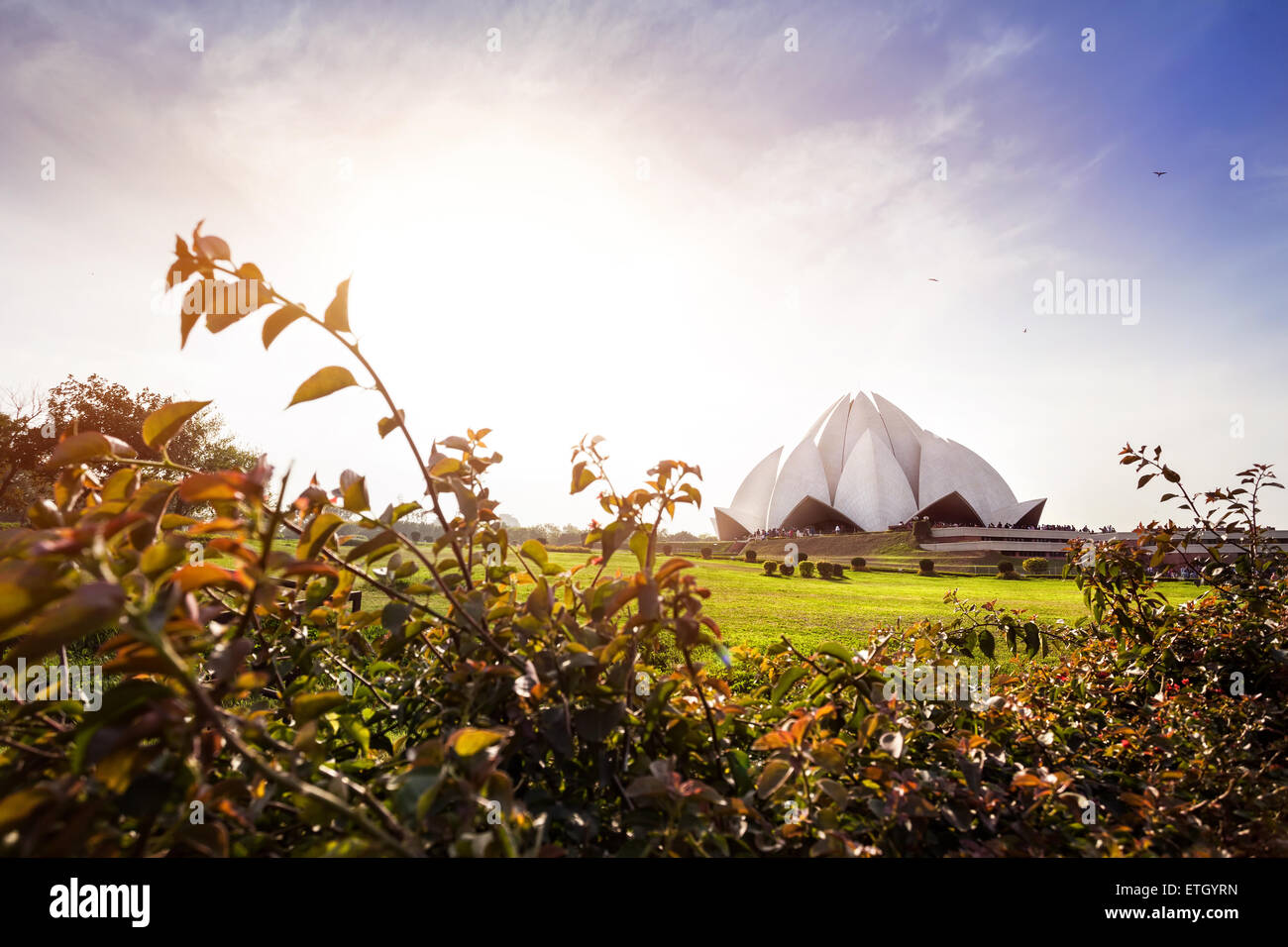 Lotus-Tempel bei Sonnenuntergang in New Delhi, Indien Stockbild