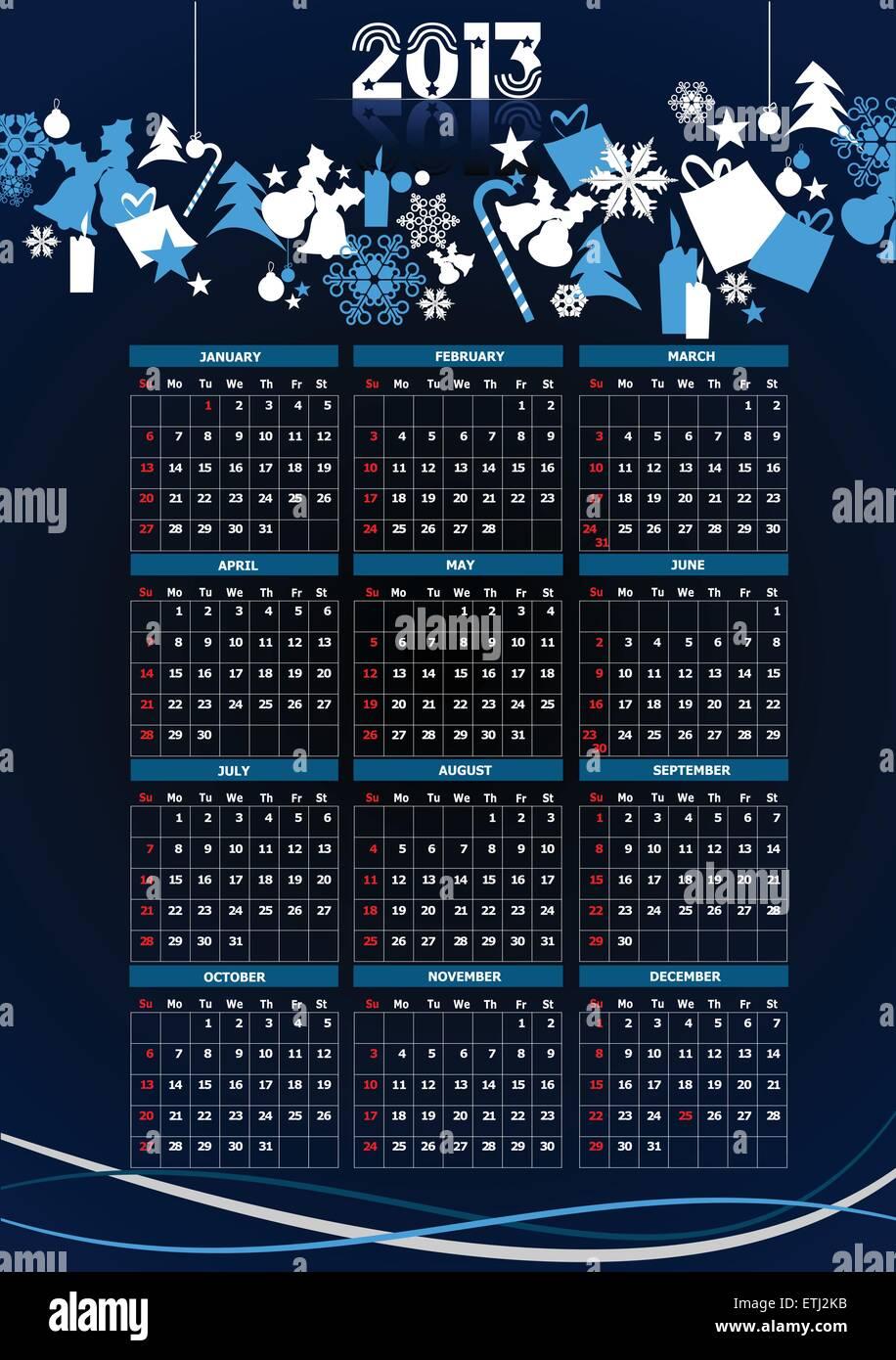 Weihnachtsbilder Suchen.Kalender 2013 Mit Weihnachtsbilder Vektor Illustration Vektor