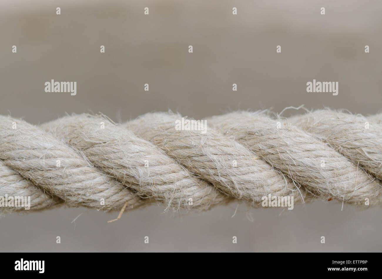Nahaufnahme des Seils auf grauem Hintergrund isoliert Stockfoto