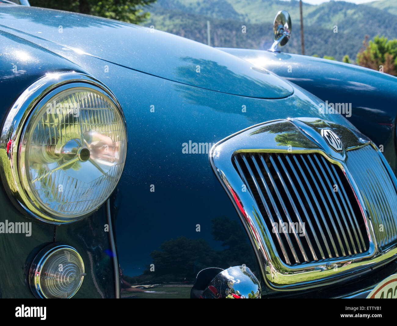 Front-End, 1959 MGA Coupe, MG-Auto-Rallye, Glenwood Springs, Colorado. Stockbild
