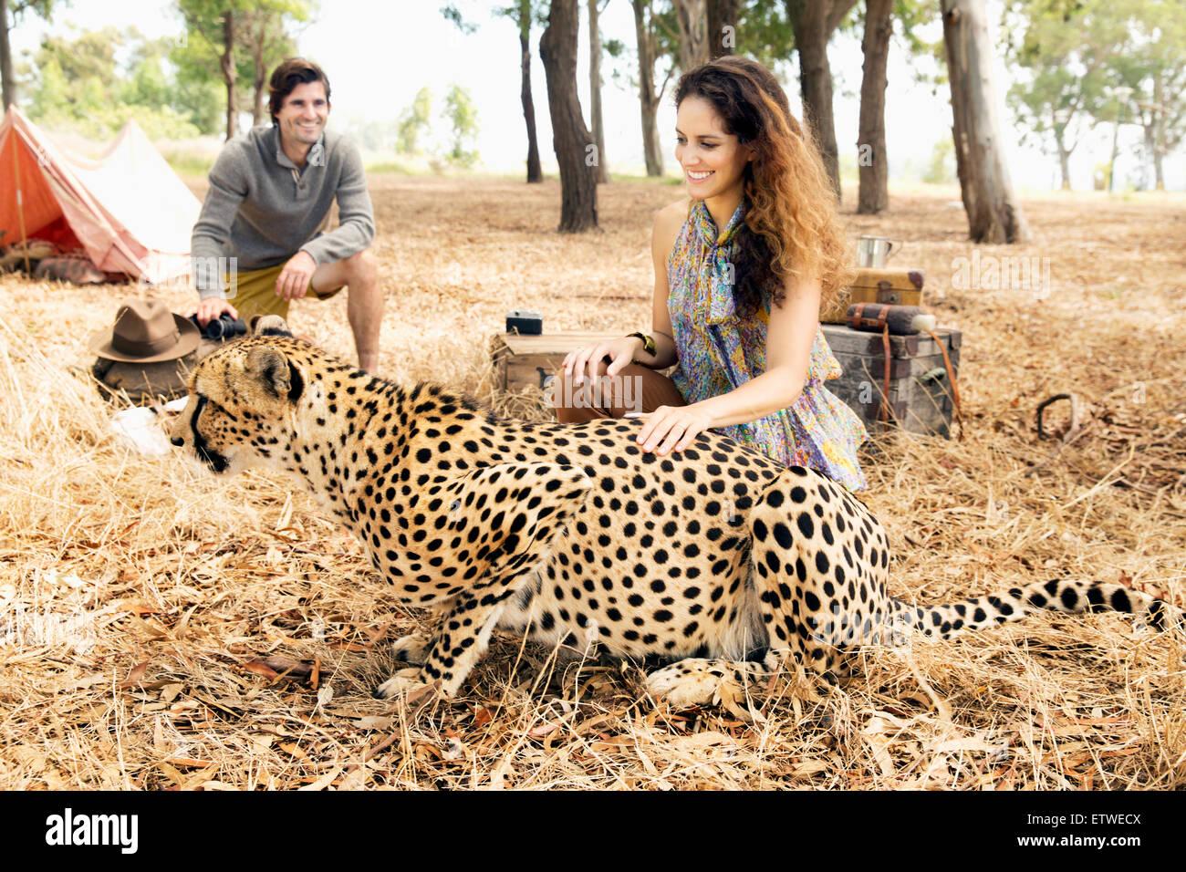 Südafrika, Frau streicheln zahme Geparden auf Wiese mit Mann im Hintergrund Stockbild