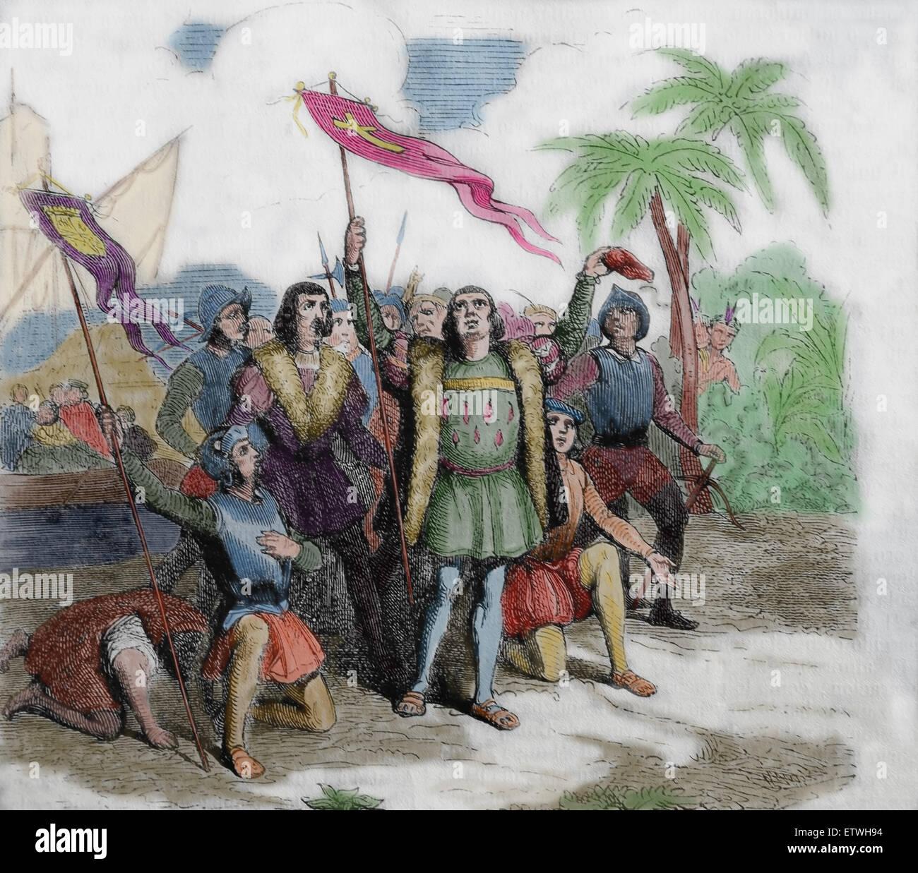 Entdeckung der neuen Welt durch Christopher Columbus. Gravur. des 19. Jahrhunderts. Stockbild