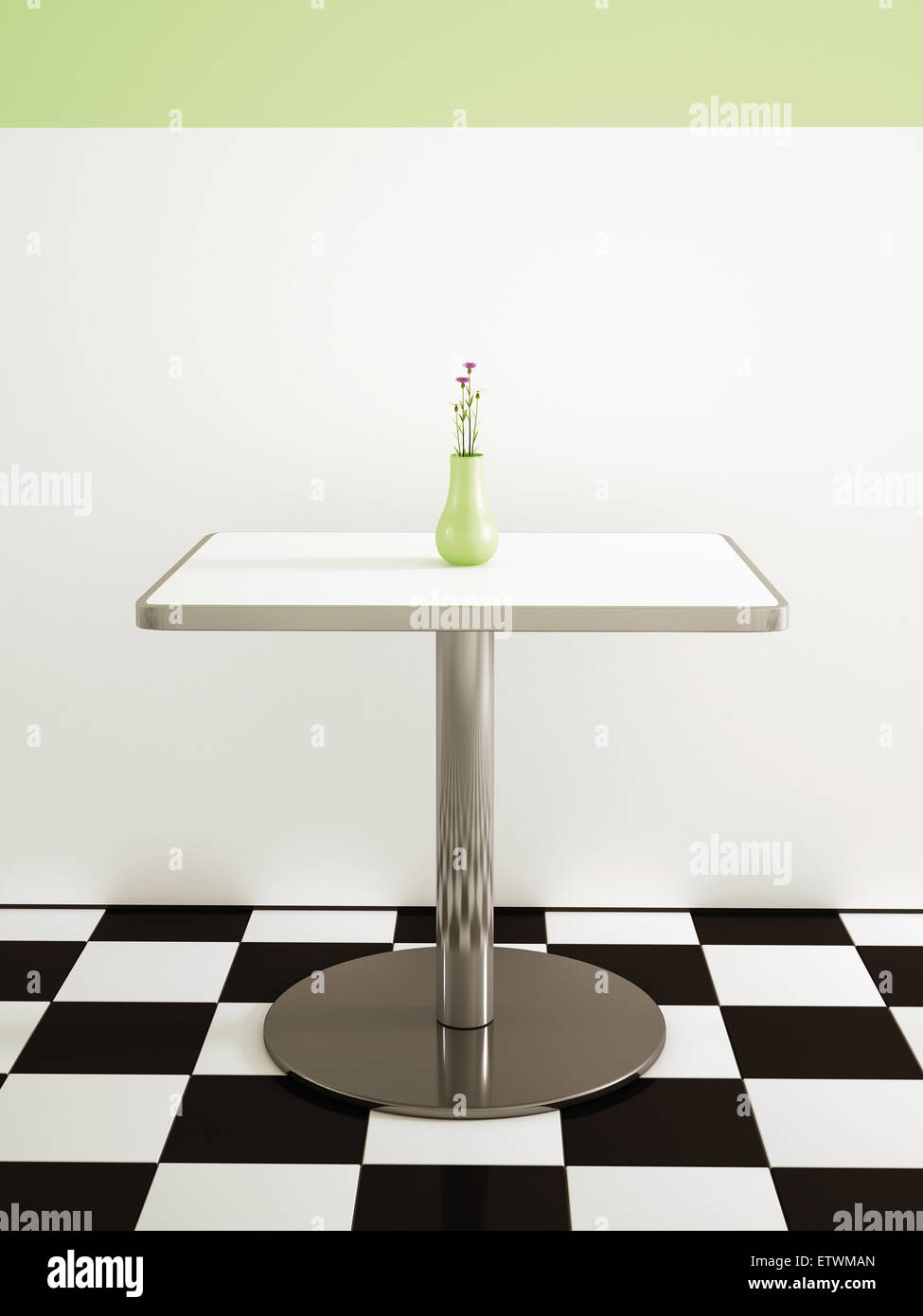 Tisch Mit Blumen Vase In Einem American Diner, 3D Rendering