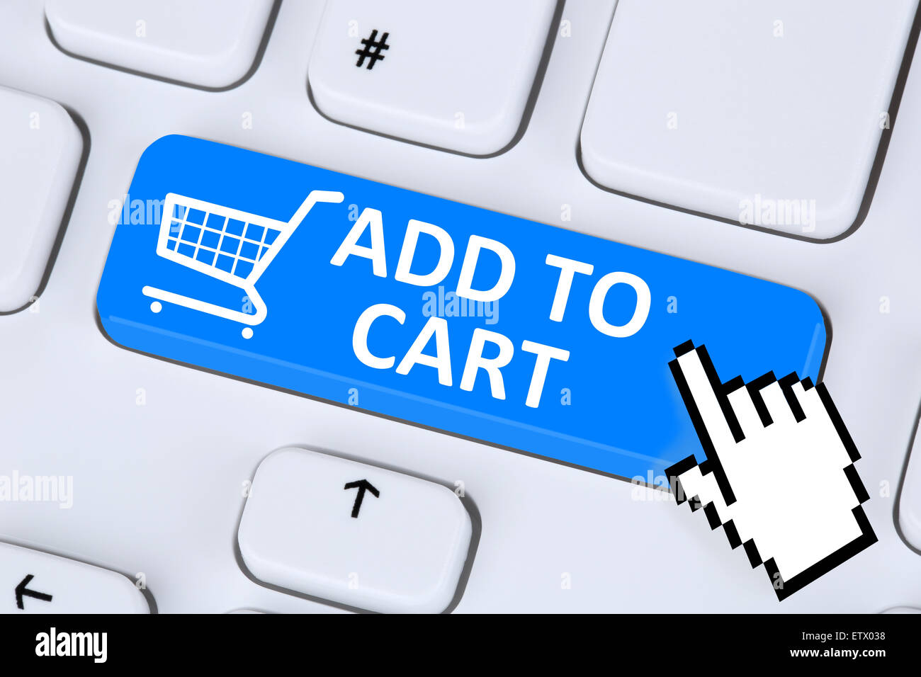 Add to cart Online-shopping bestellen Internet e-Commerce Shop-Konzept Stockbild